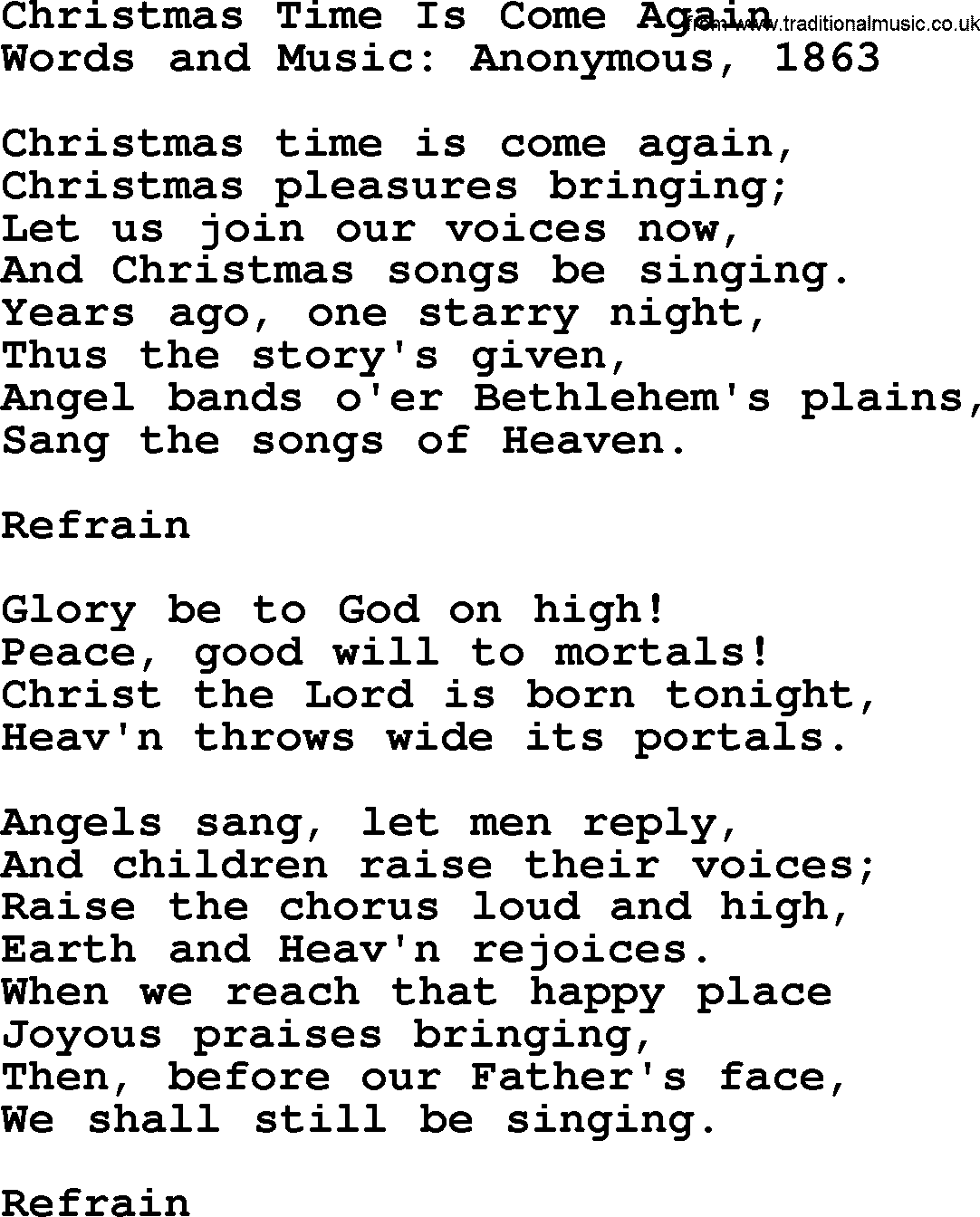 Christmas Powerpoints, Song: Christmas Time Is Come Again - Lyrics ...