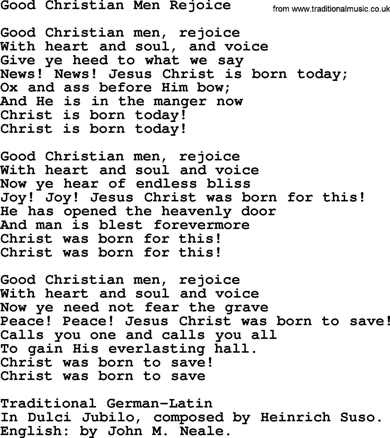 Christmas Powerpoints, Song: Good Christian Men Rejoice - Lyrics ...