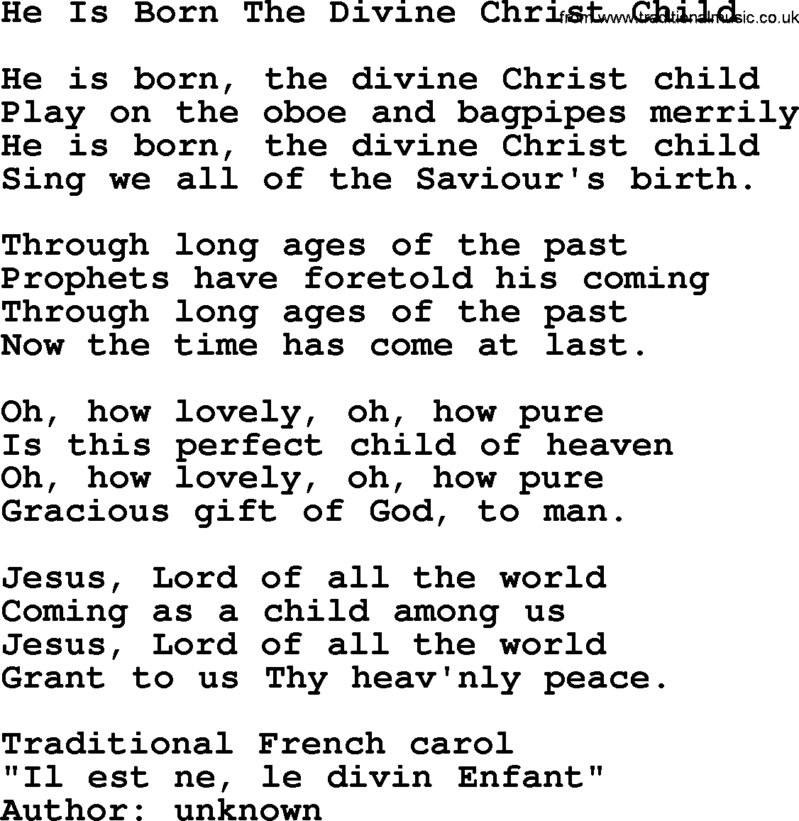 Christmas Powerpoints, Song: He Is Born The Divine Christ