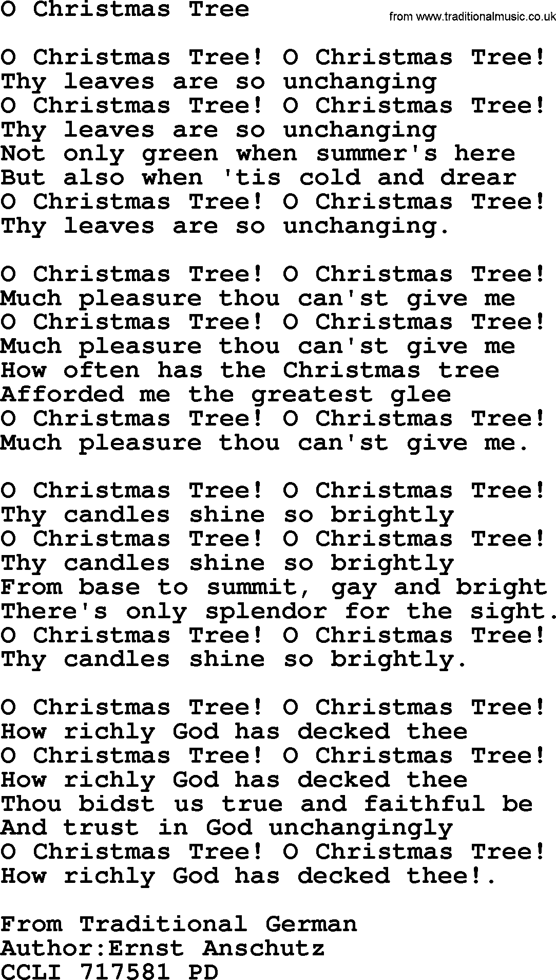 280 christmas hymns and songs with powerpoints and pdf title o christmas tree - O Christmas Tree Lyrics