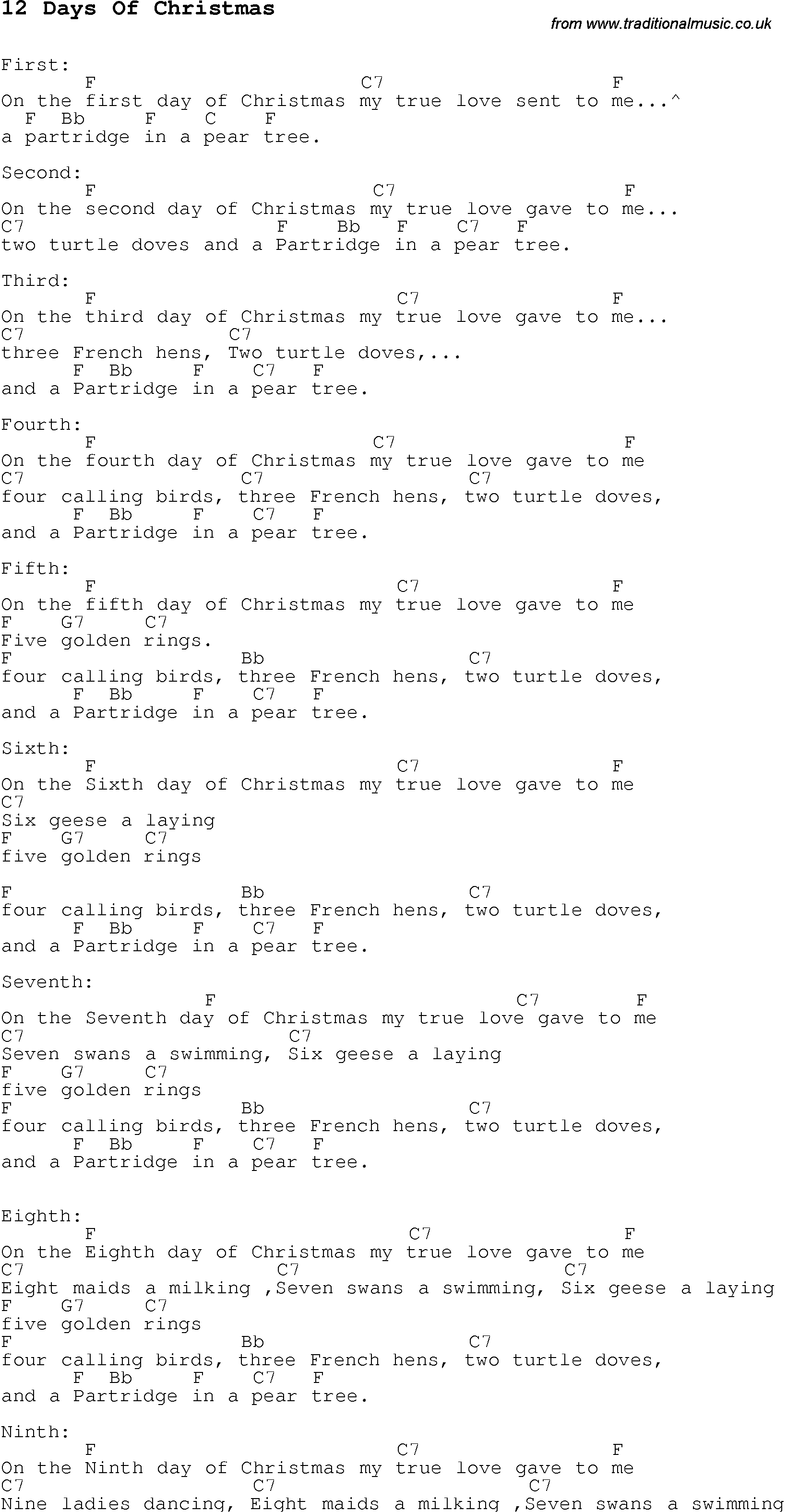 christmas songs and carols lyrics with chords for guitar banjo for 12 days of christmas - When Are The Twelve Days Of Christmas