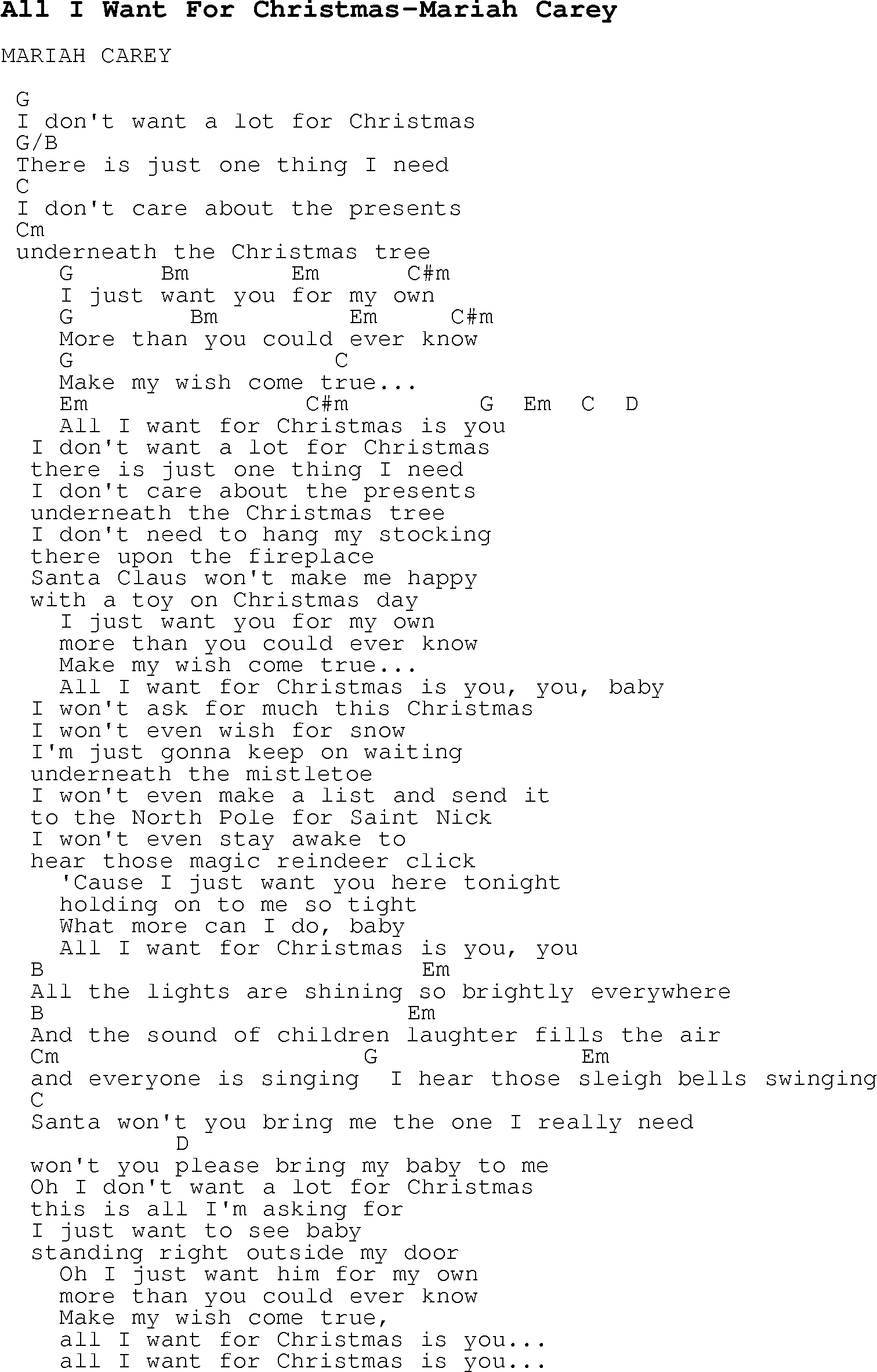 Christmas Carol/Song lyrics with chords for All I Want For ...