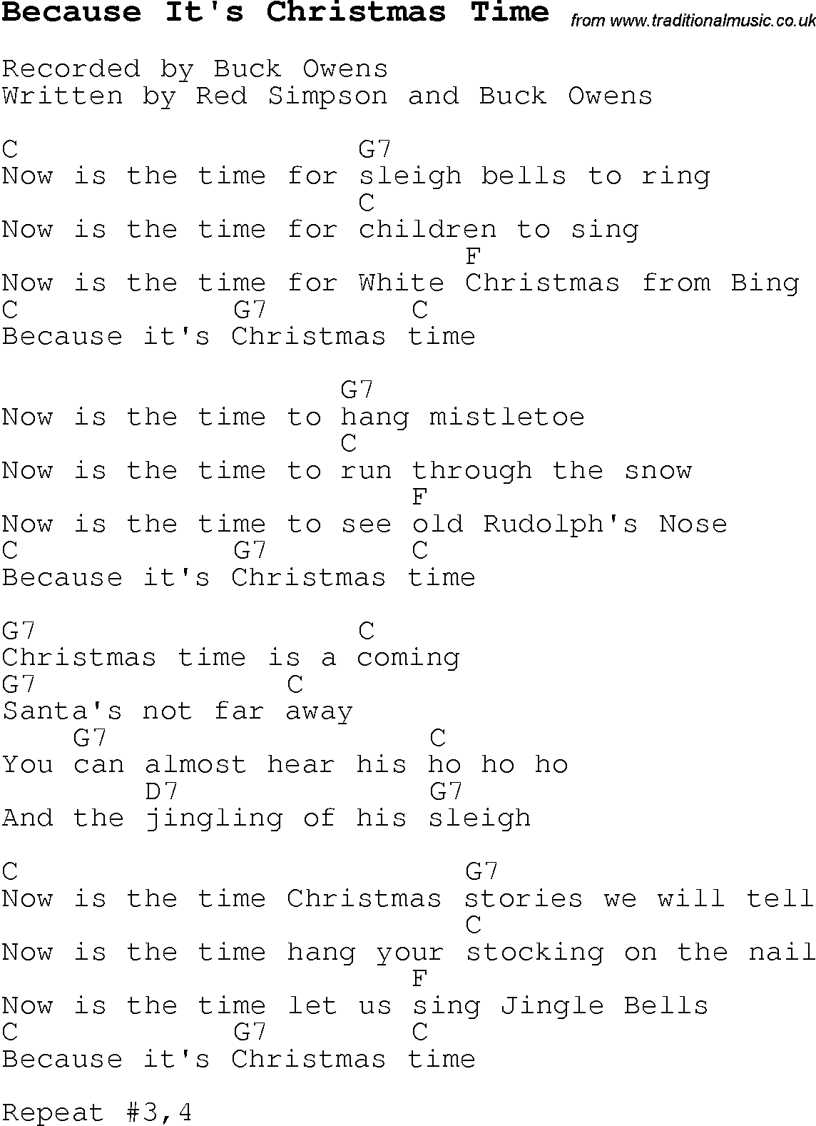 Christmas Carol/Song lyrics with chords for Because It's Christmas ...