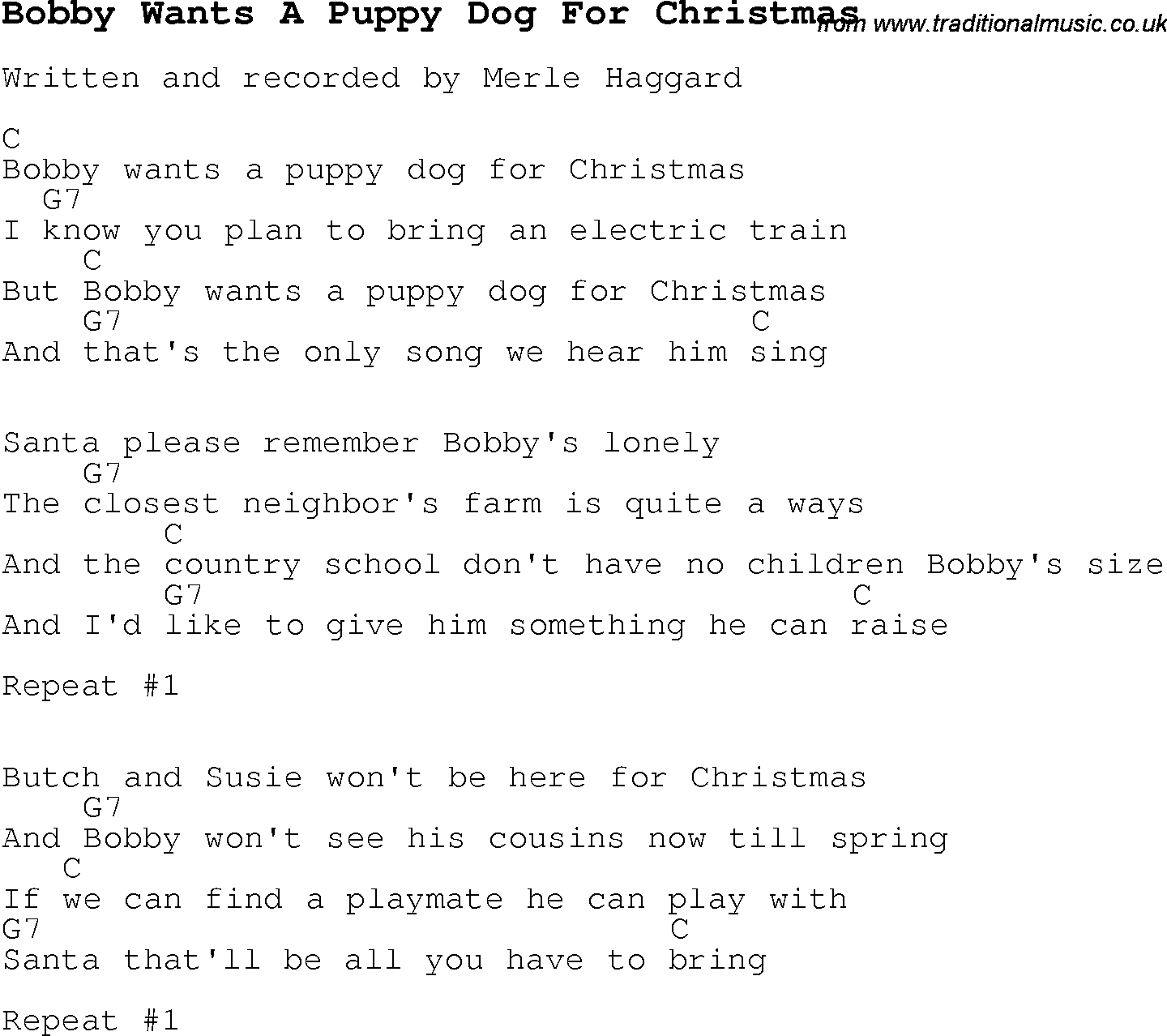 Christmas Carol/Song lyrics with chords for Bobby Wants A Puppy Dog ...