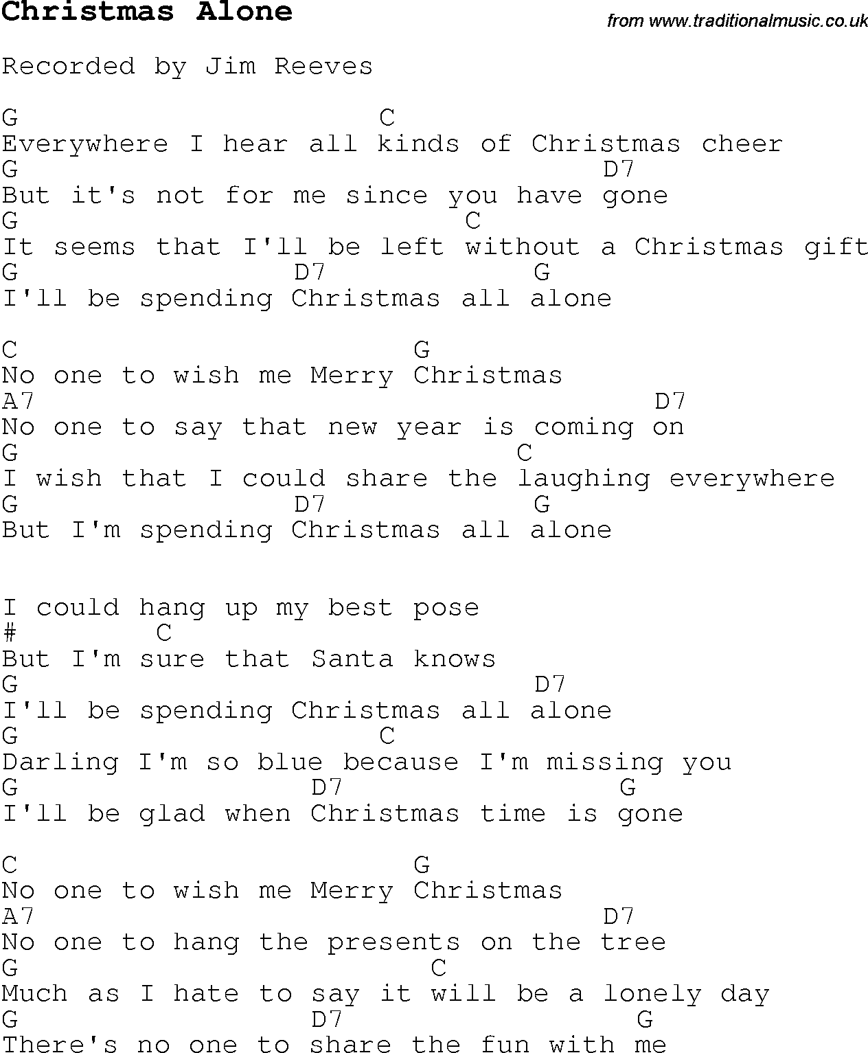Christmas Carol/Song lyrics with chords for Christmas Alone
