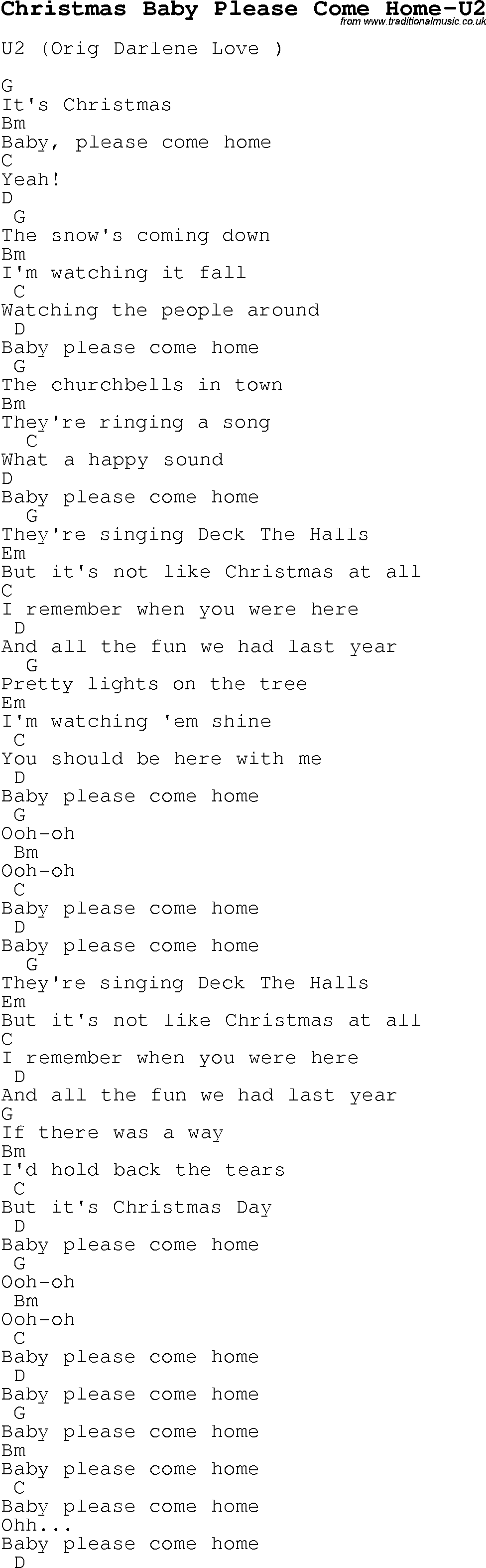 Christmas Carol/Song lyrics with chords for Christmas Baby Please ...