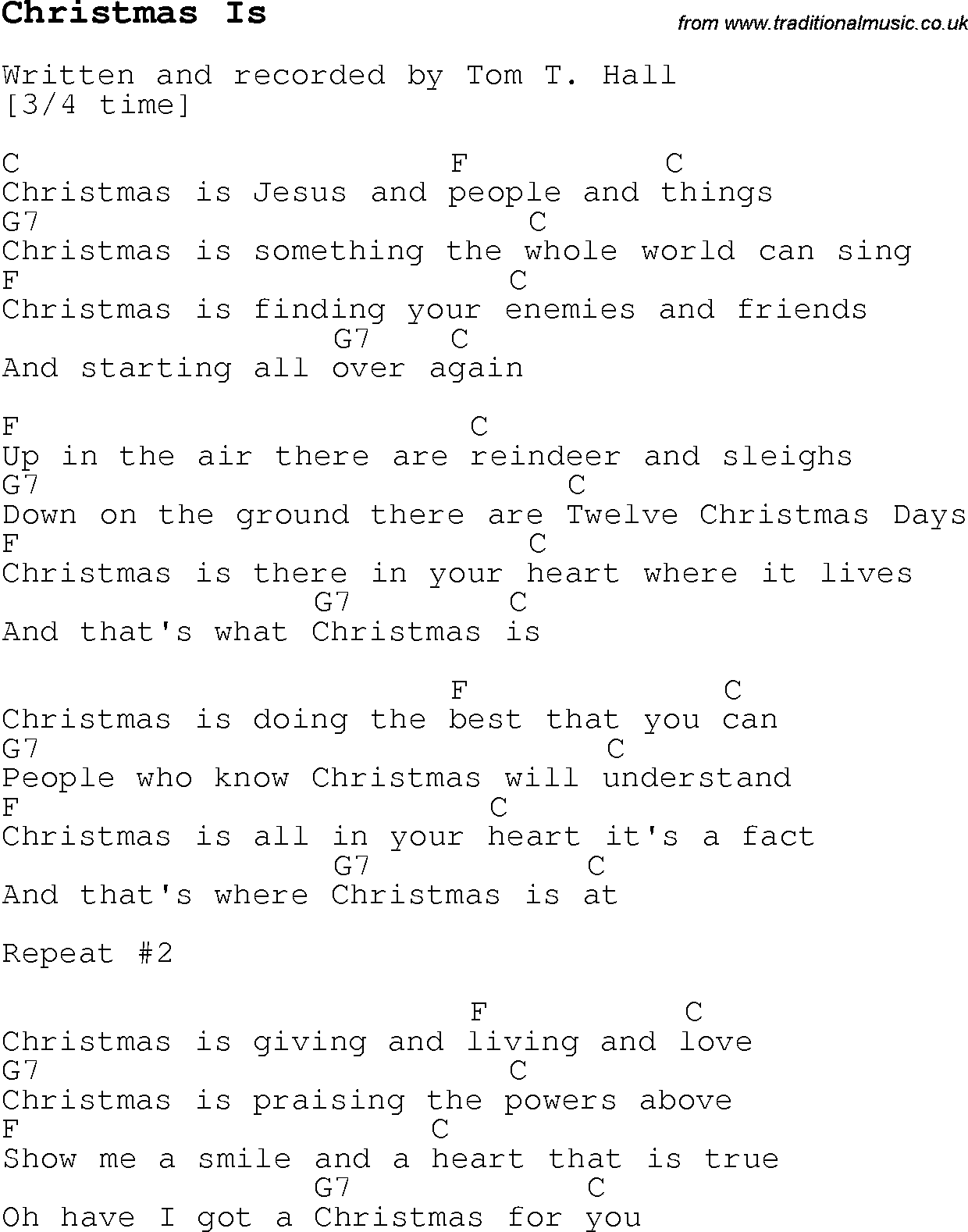 Christmas Carol/Song lyrics with chords for Christmas Is