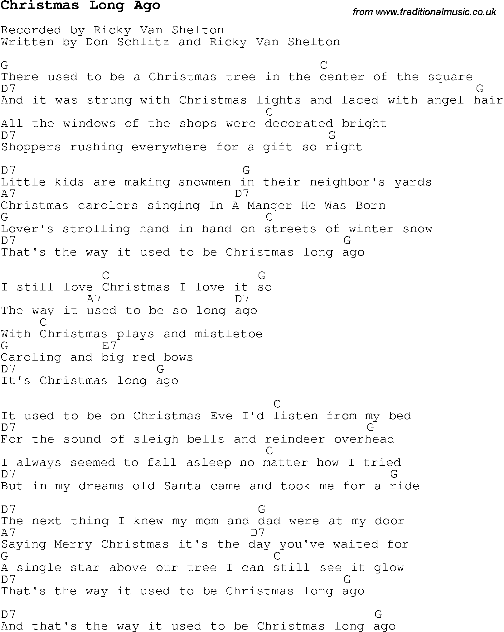 Christmas Carol/Song lyrics with chords for Christmas Long Ago