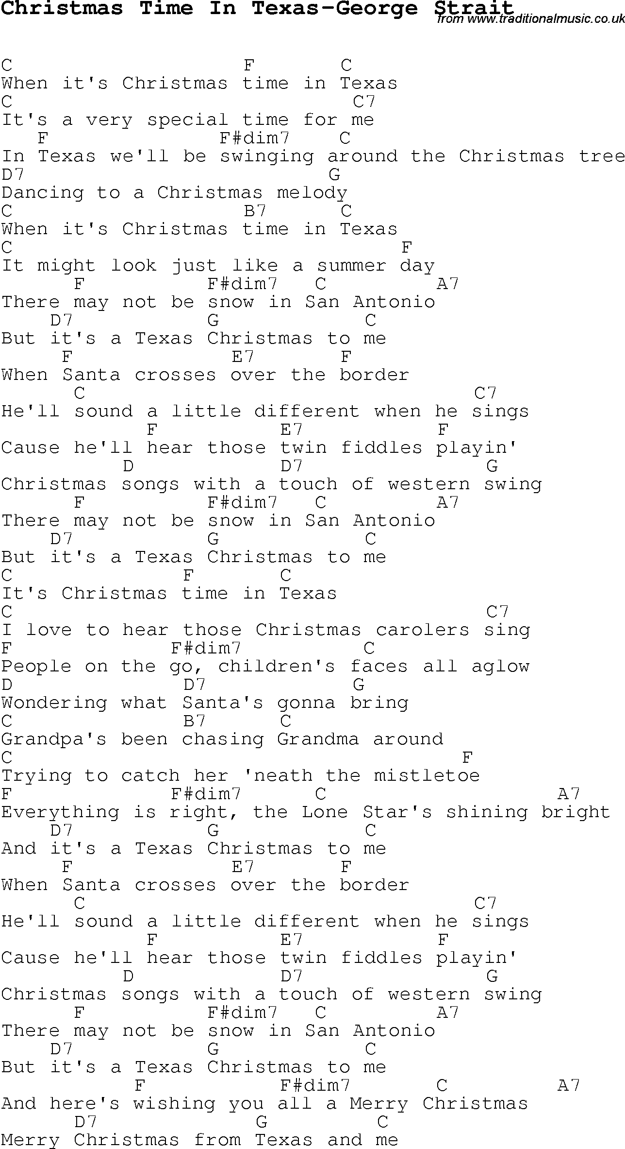 Christmas Carol/Song lyrics with chords for Christmas Time In Texas ...