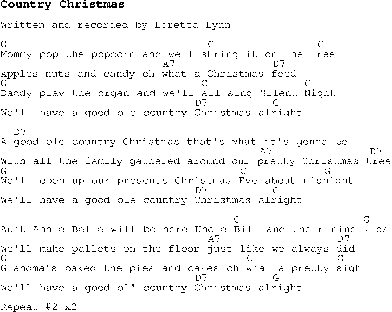 Christmas Carol/Song lyrics with chords for Country Christmas