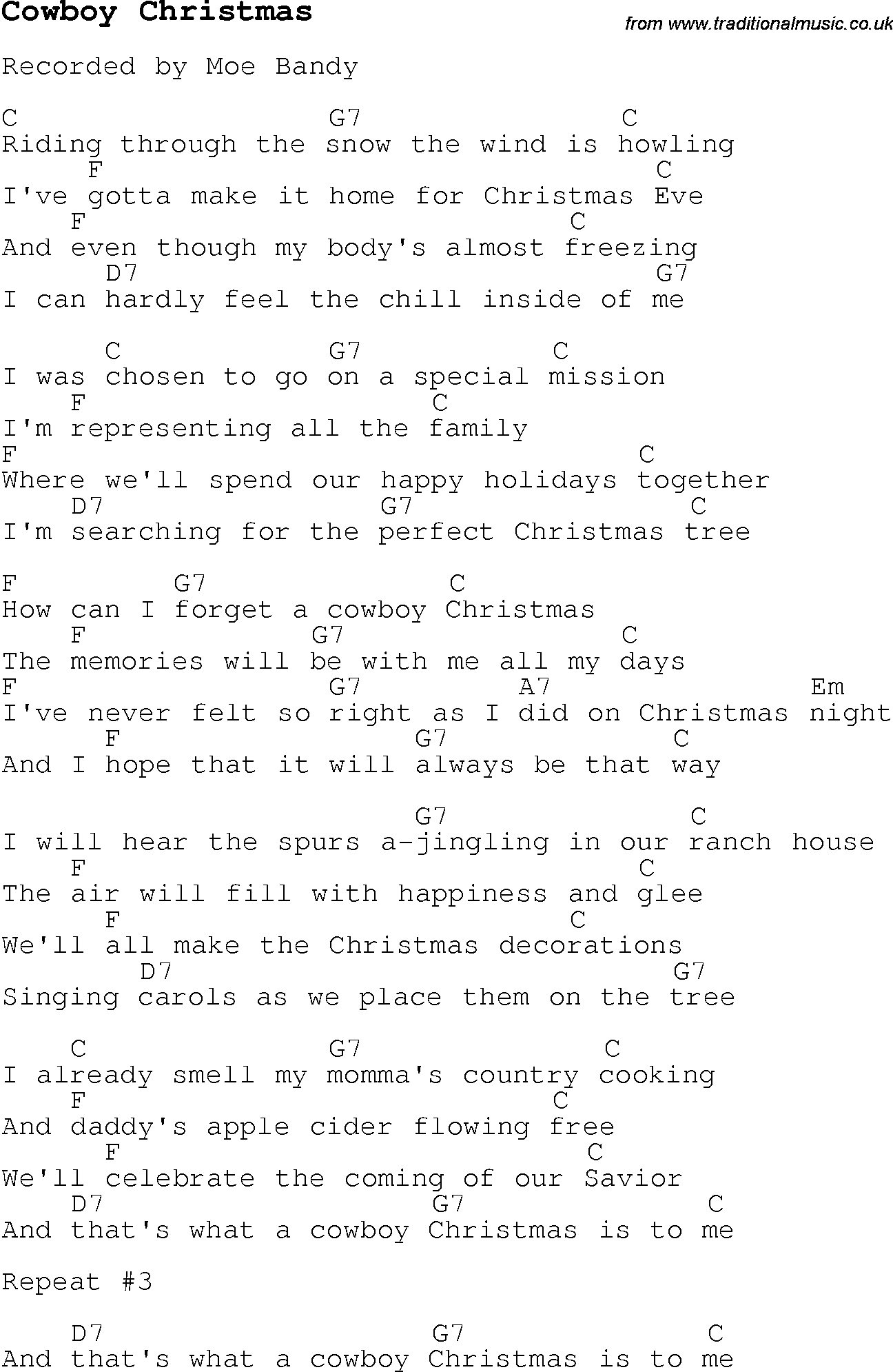 christmas carol song lyrics with chords for cowboy christmas. Black Bedroom Furniture Sets. Home Design Ideas