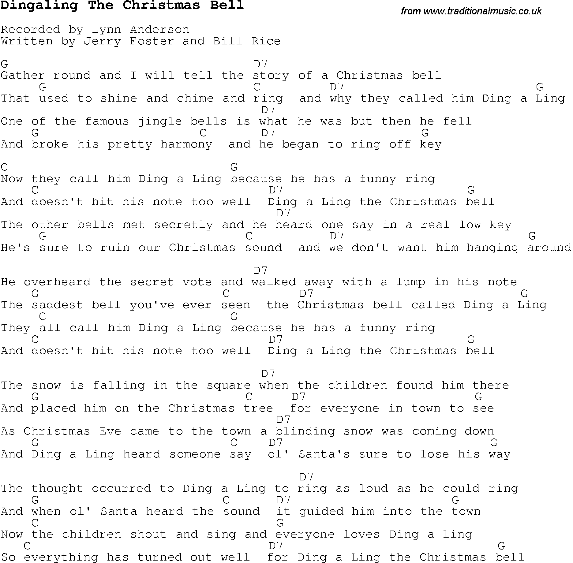 Christmas Carol/Song lyrics with chords for Dingaling The Christmas Bell