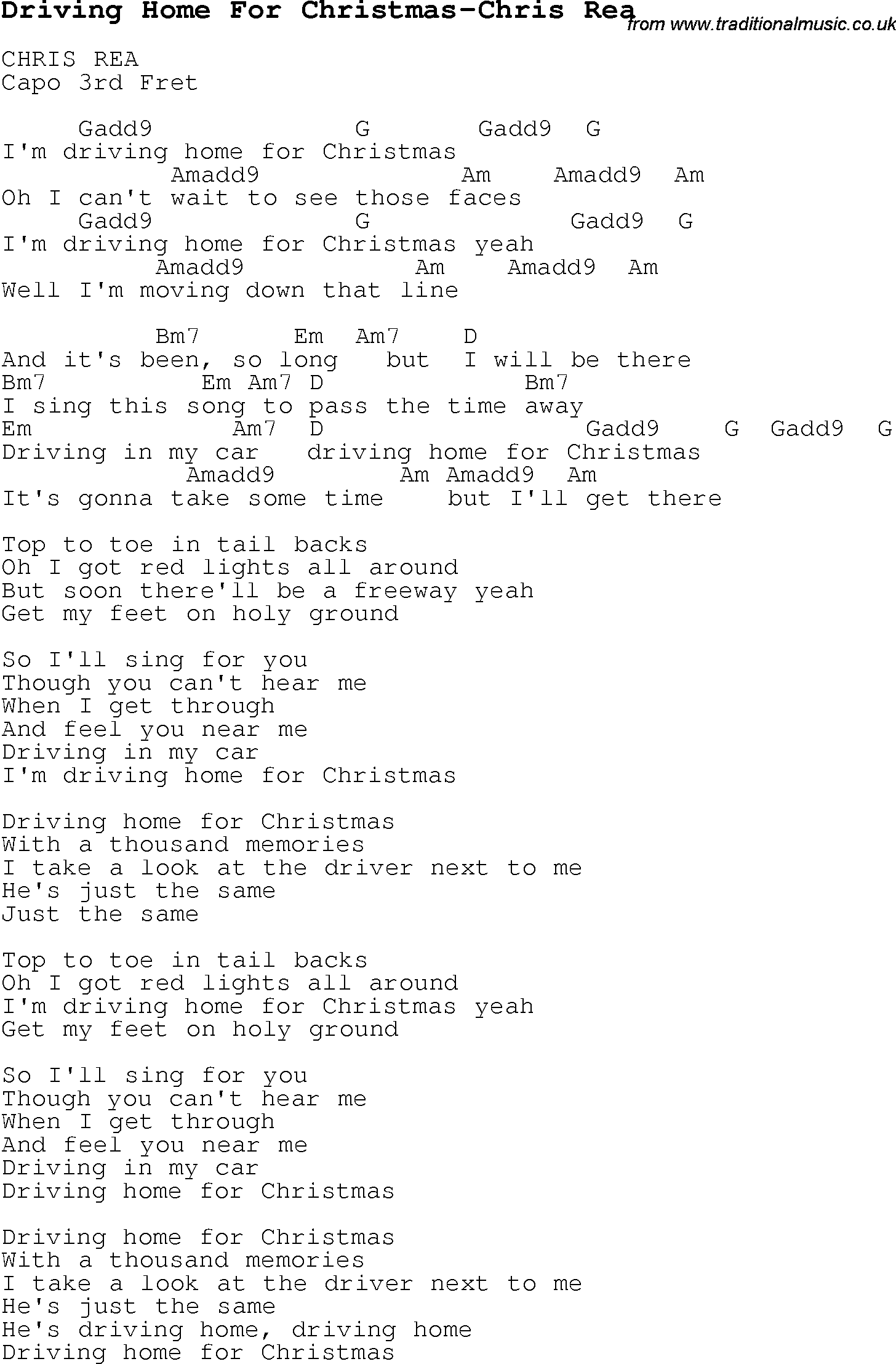 Christmas Carol/Song lyrics with chords for Driving Home For ...