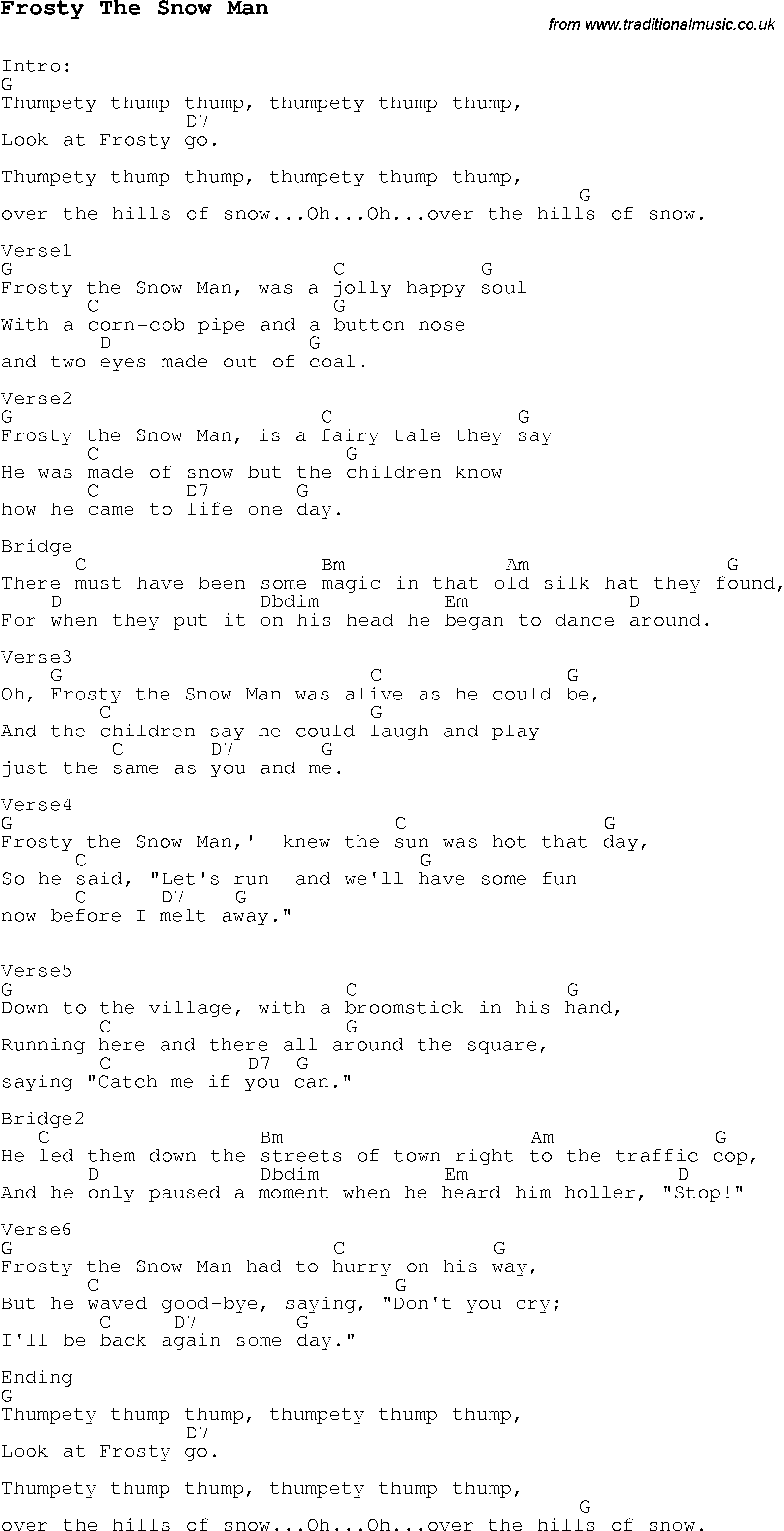 Christmas Carol/Song lyrics with chords for Frosty The Snow Man