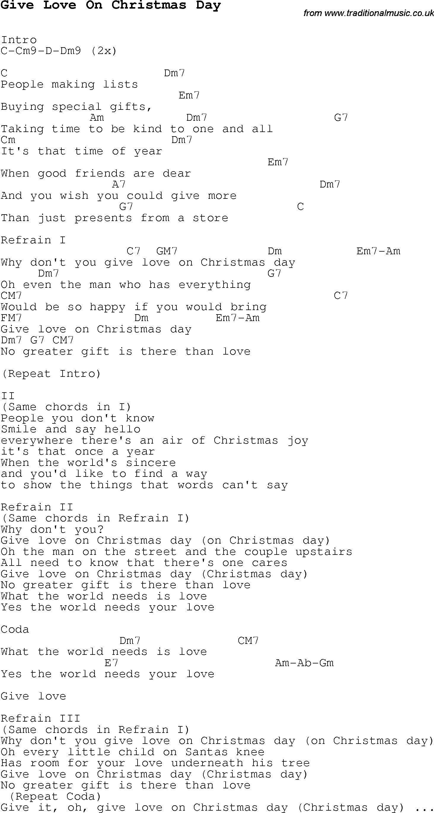 Christmas song love