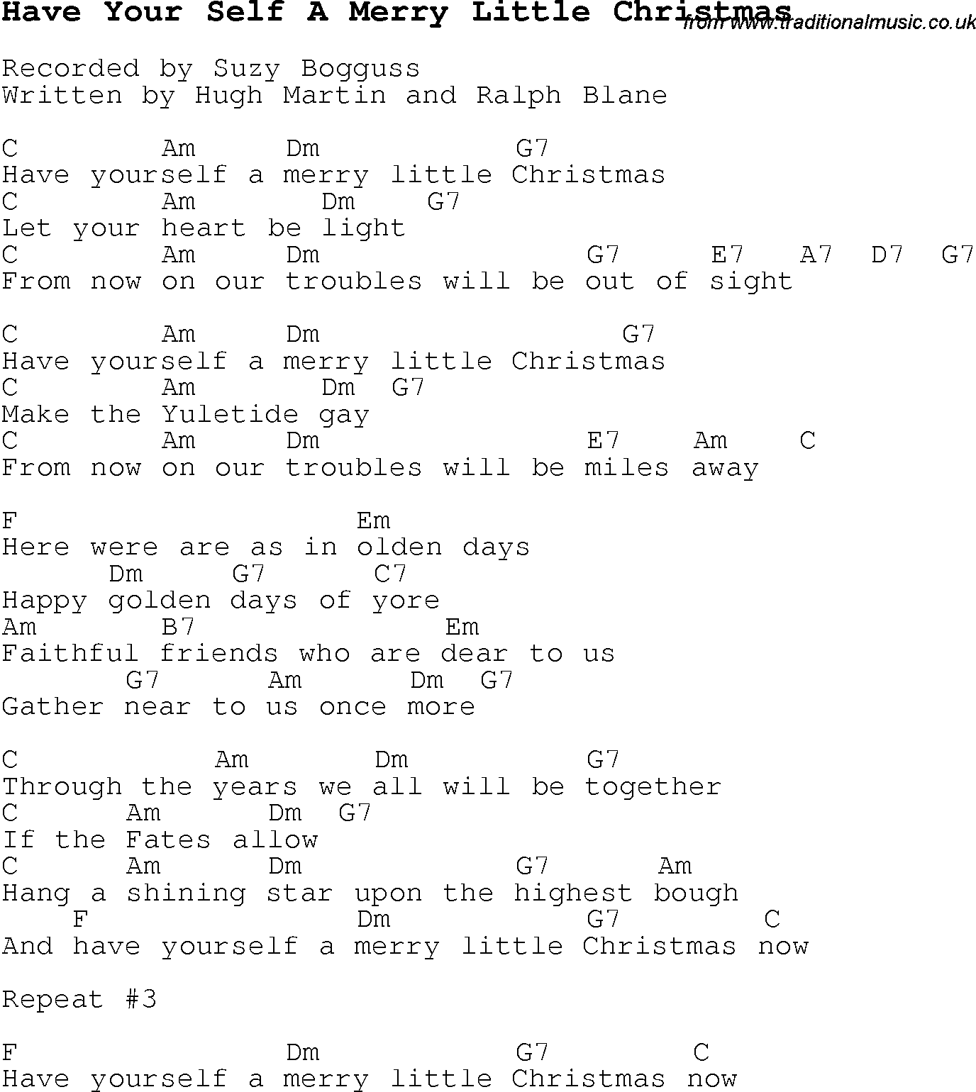 Christmas Carol/Song lyrics with chords for Have Your Self A Merry Little Christmas