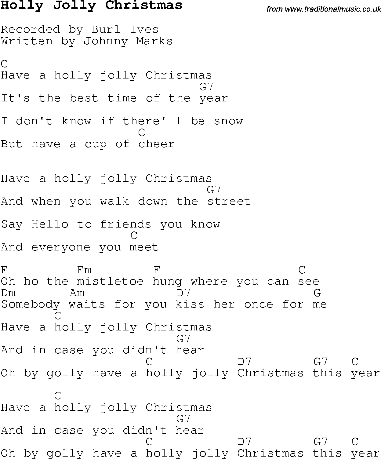 Christmas Carol/Song lyrics with chords for Holly Jolly Christmas