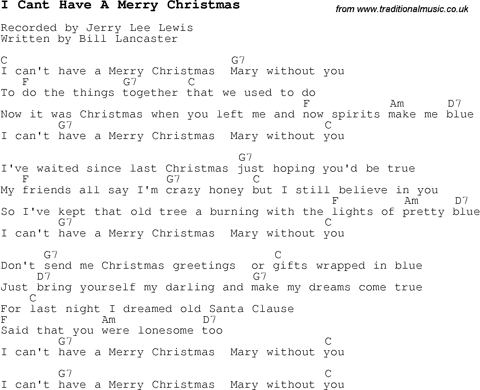Christmas Carol/Song lyrics with chords for I Cant Have A Merry ...