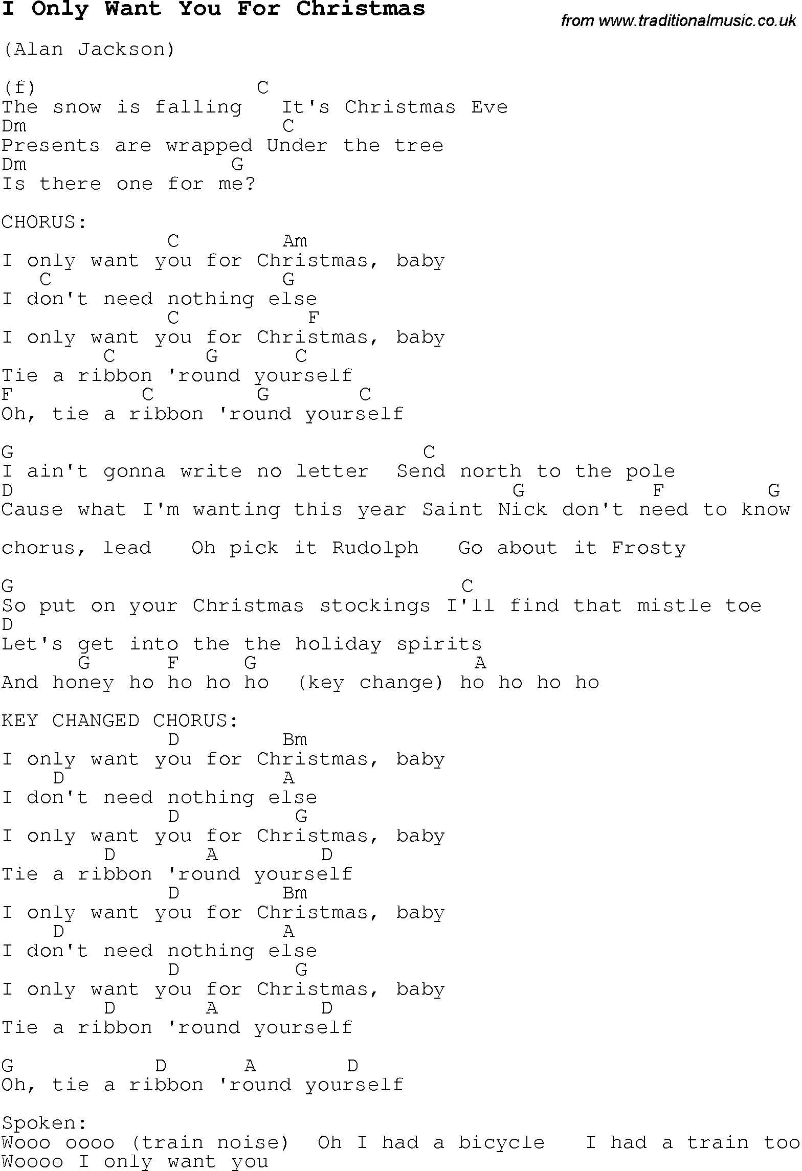 Christmas Carol/Song lyrics with chords for I Only Want You For ...