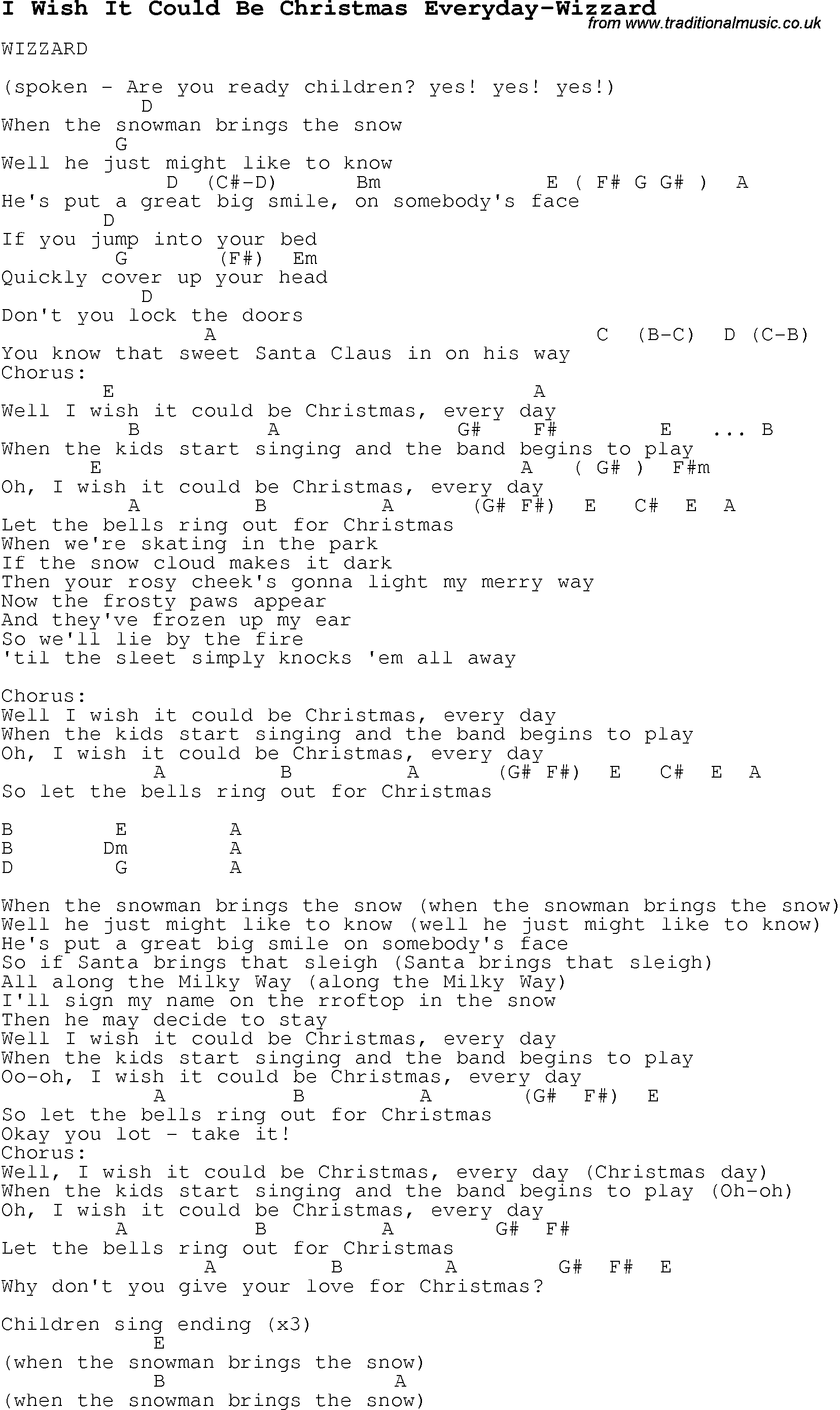 Christmas Carol/Song lyrics with chords for I Wish It Could Be ...