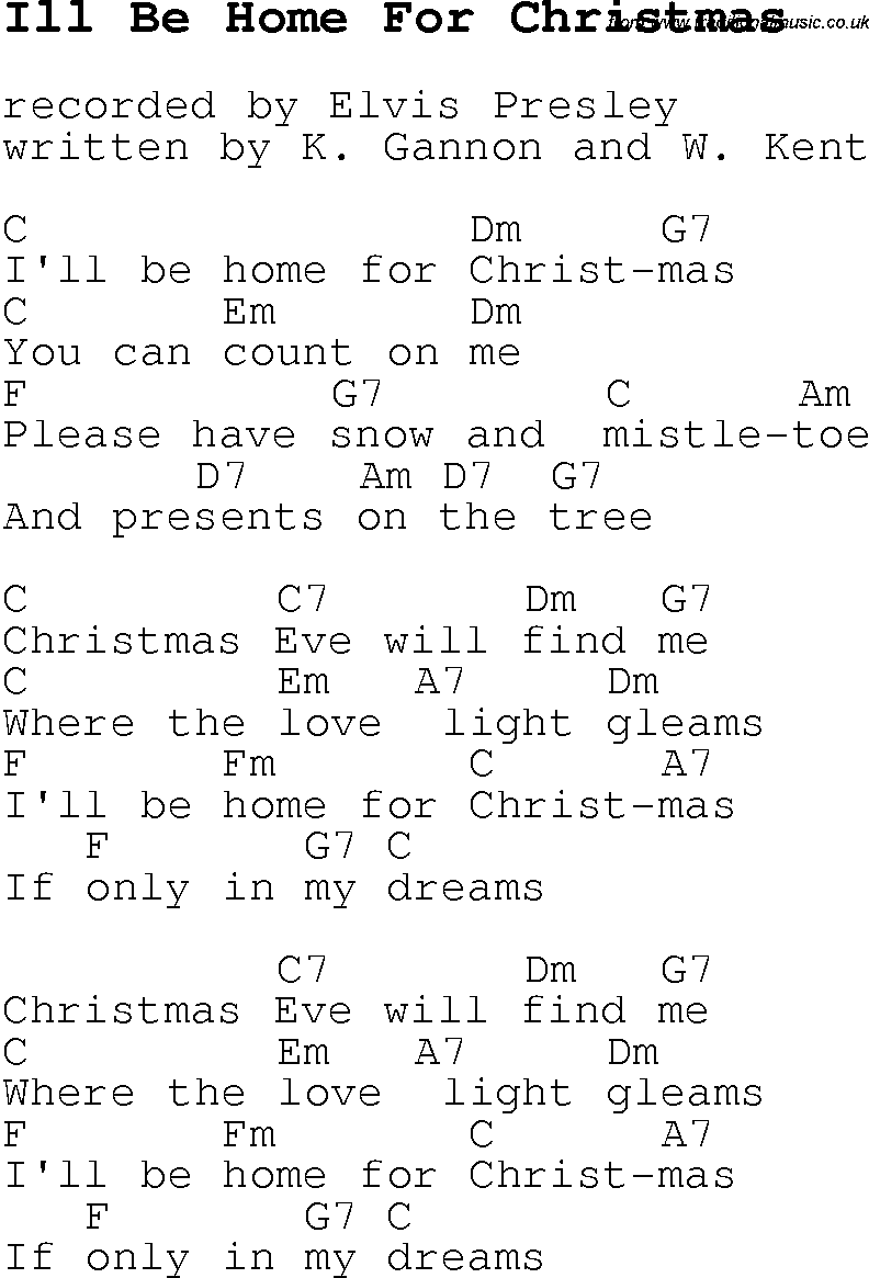 Christmas Carol/Song lyrics with chords for Ill Be Home For Christmas