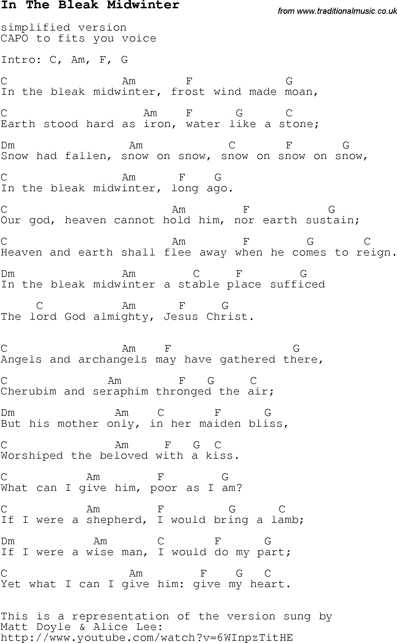 Christmas Carol/Song lyrics with chords for In The Bleak Midwinter