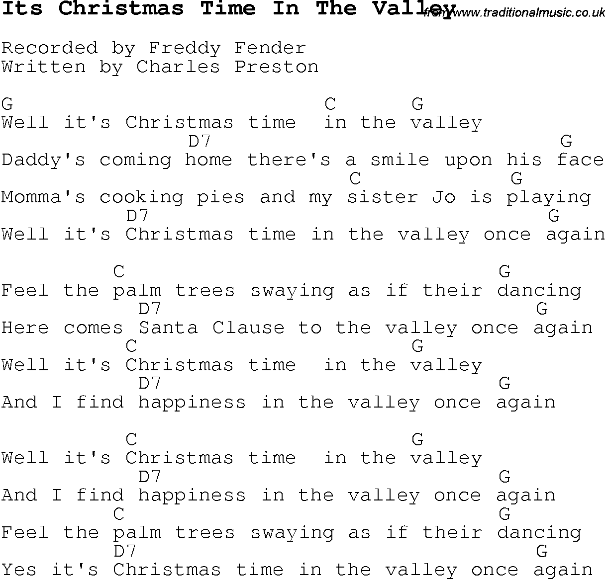 Christmas Carol/Song lyrics with chords for Its Christmas Time In ...