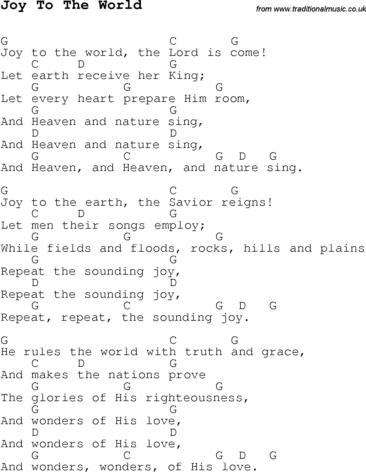 Christmas Carol/Song lyrics with chords for Joy To The World