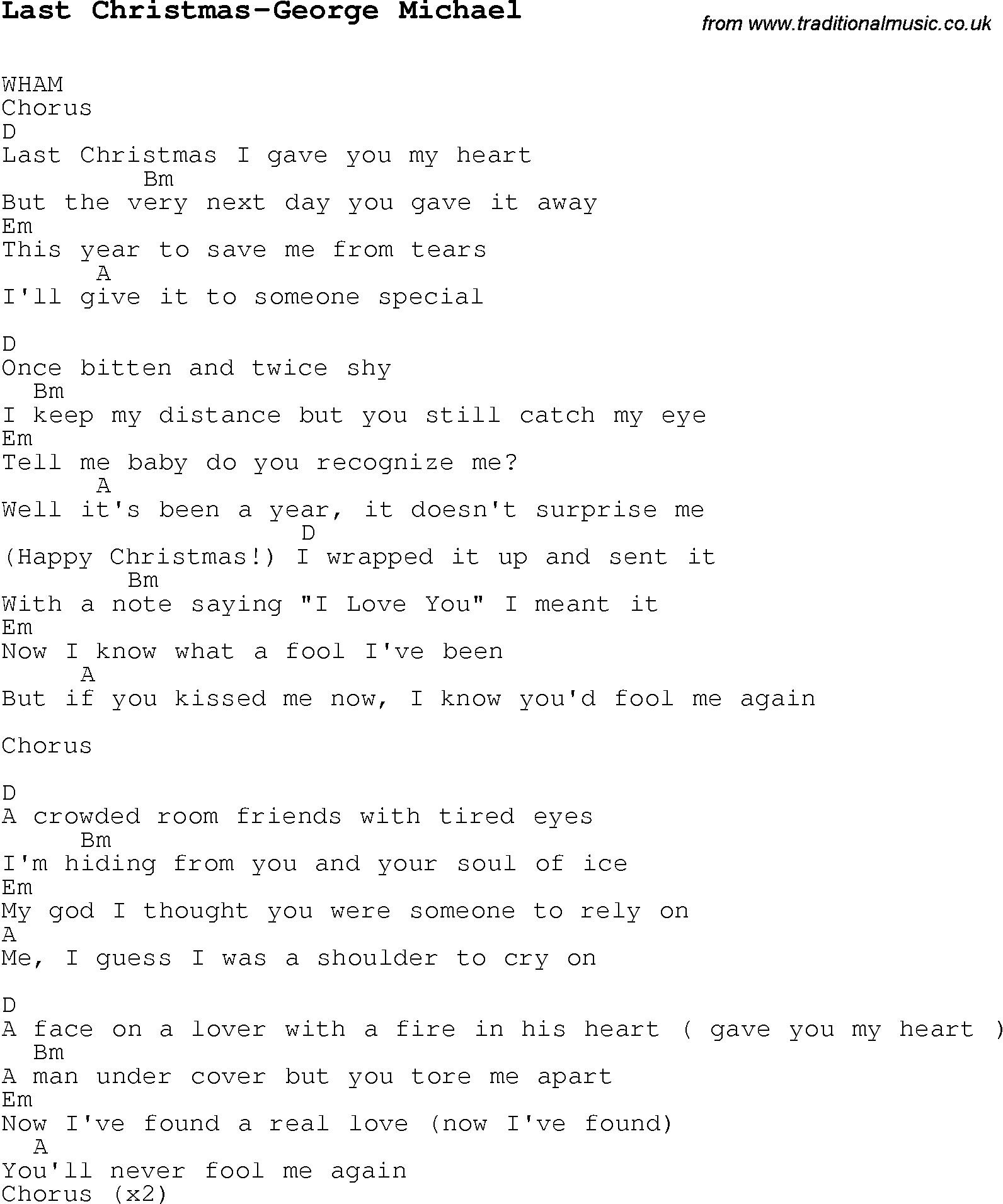 Christmas Carol/Song lyrics with chords for Last Christmas-George ...