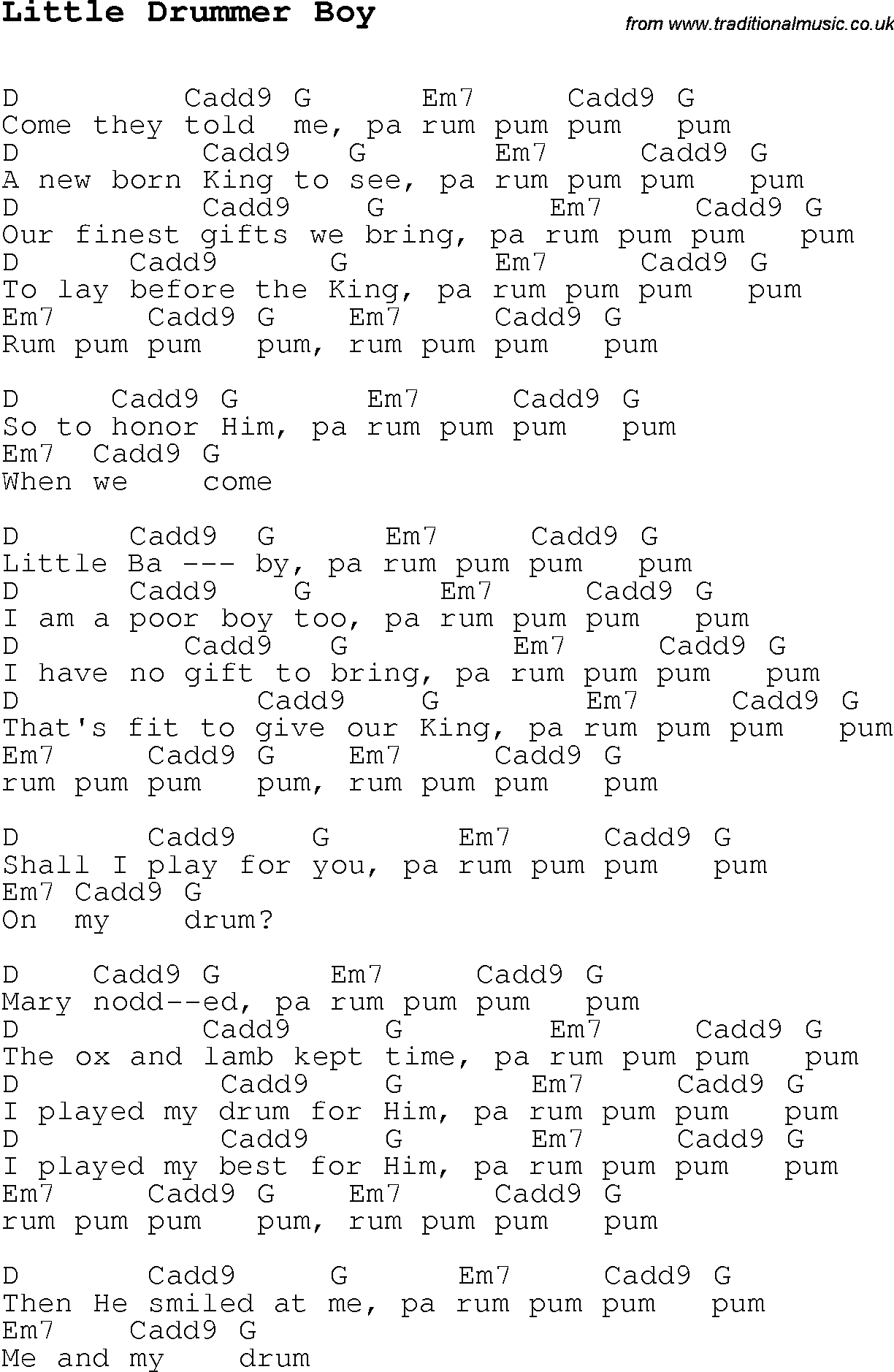 Christmas Carol/Song lyrics with chords for Little Drummer Boy