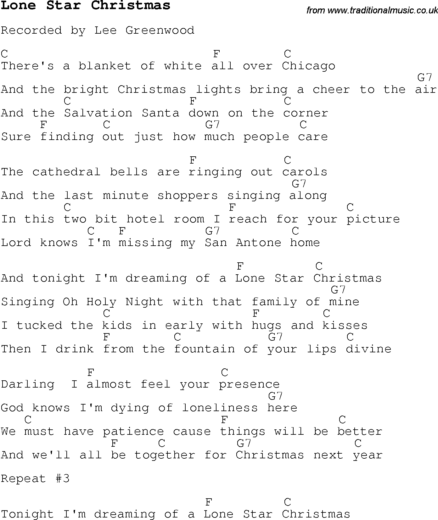 Christmas Carol/Song lyrics with chords for Lone Star Christmas
