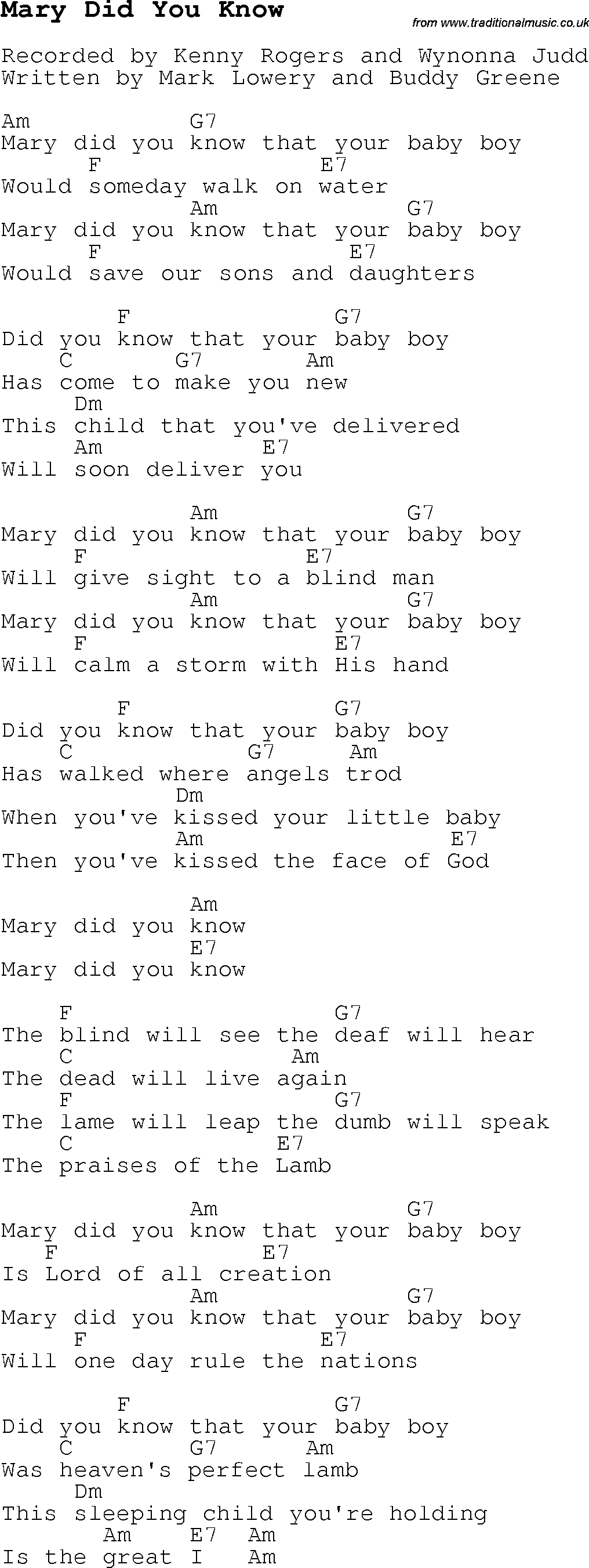 Christmas Carol/Song lyrics with chords for Mary Did You Know
