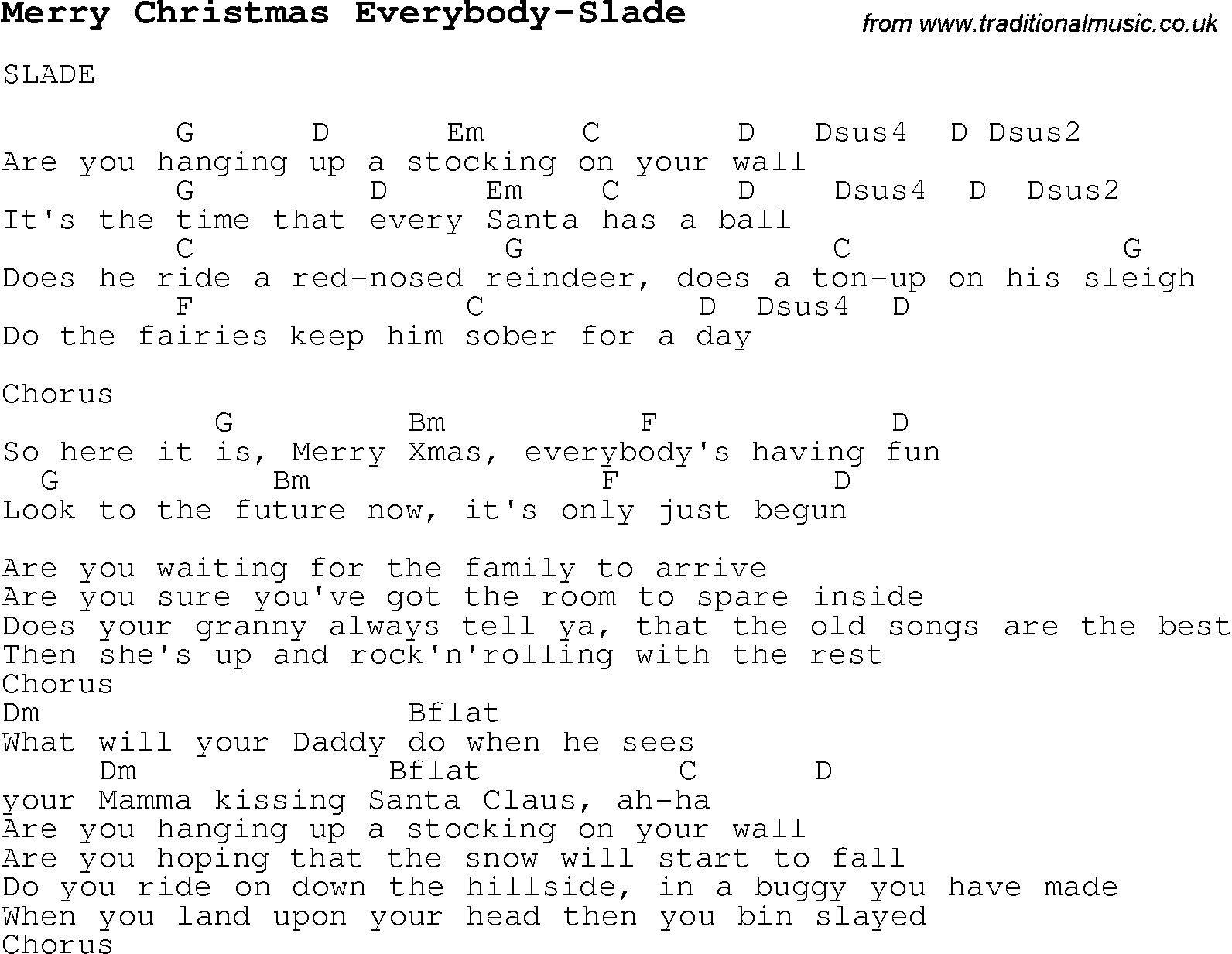 Christmas Carol/Song lyrics with chords for Merry Christmas ...