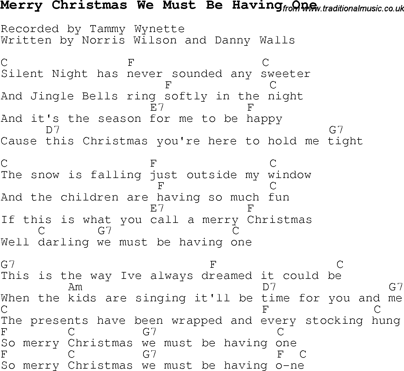 Christmas Carol/Song lyrics with chords for Merry Christmas We ...