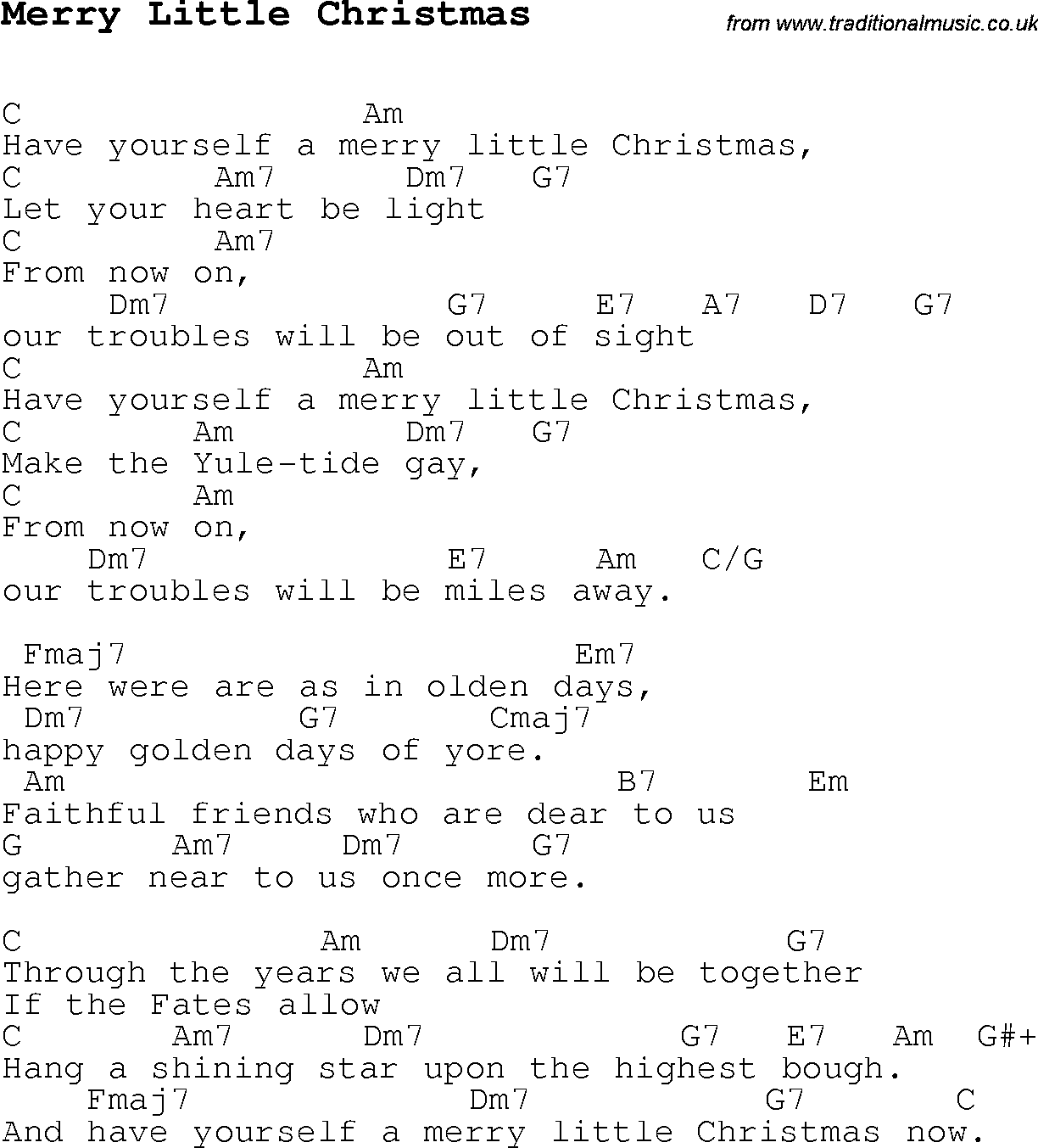 Christmas carol song lyrics with chords for merry little christmas
