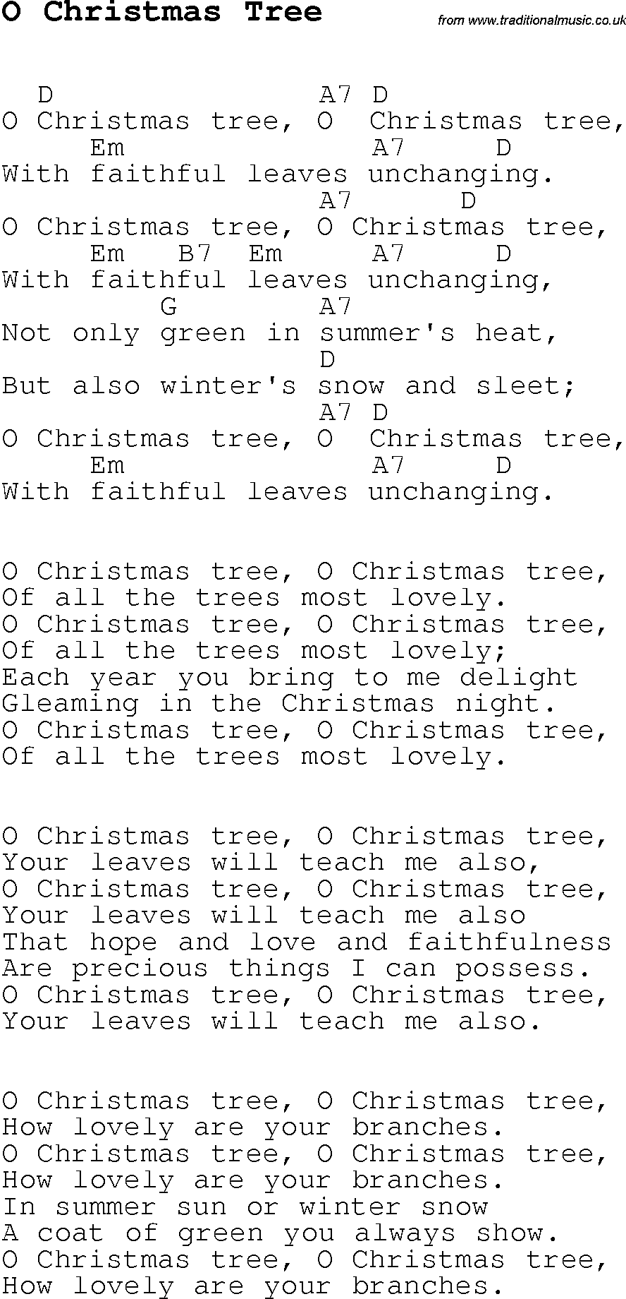 christmas songs and carols lyrics with chords for guitar banjo for o christmas tree - Oh Christmas Tree How Lovely Are Your Branches Lyrics