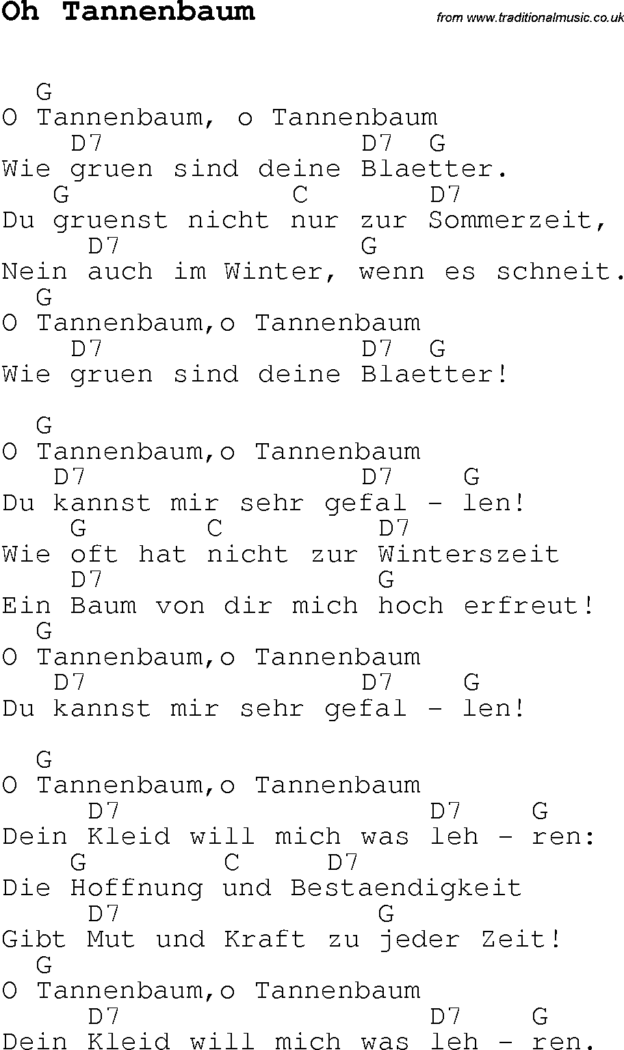 Christmas Carol/Song lyrics with chords for Oh Tannenbaum