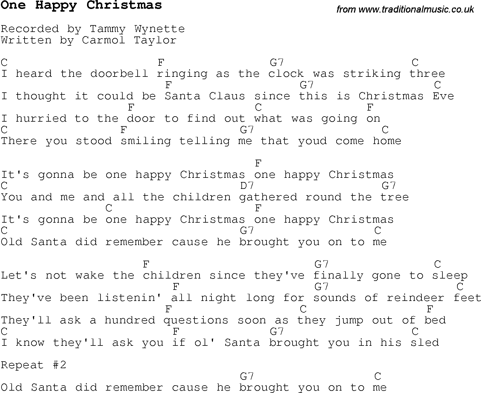 Christmas Carol/Song lyrics with chords for One Happy Christmas
