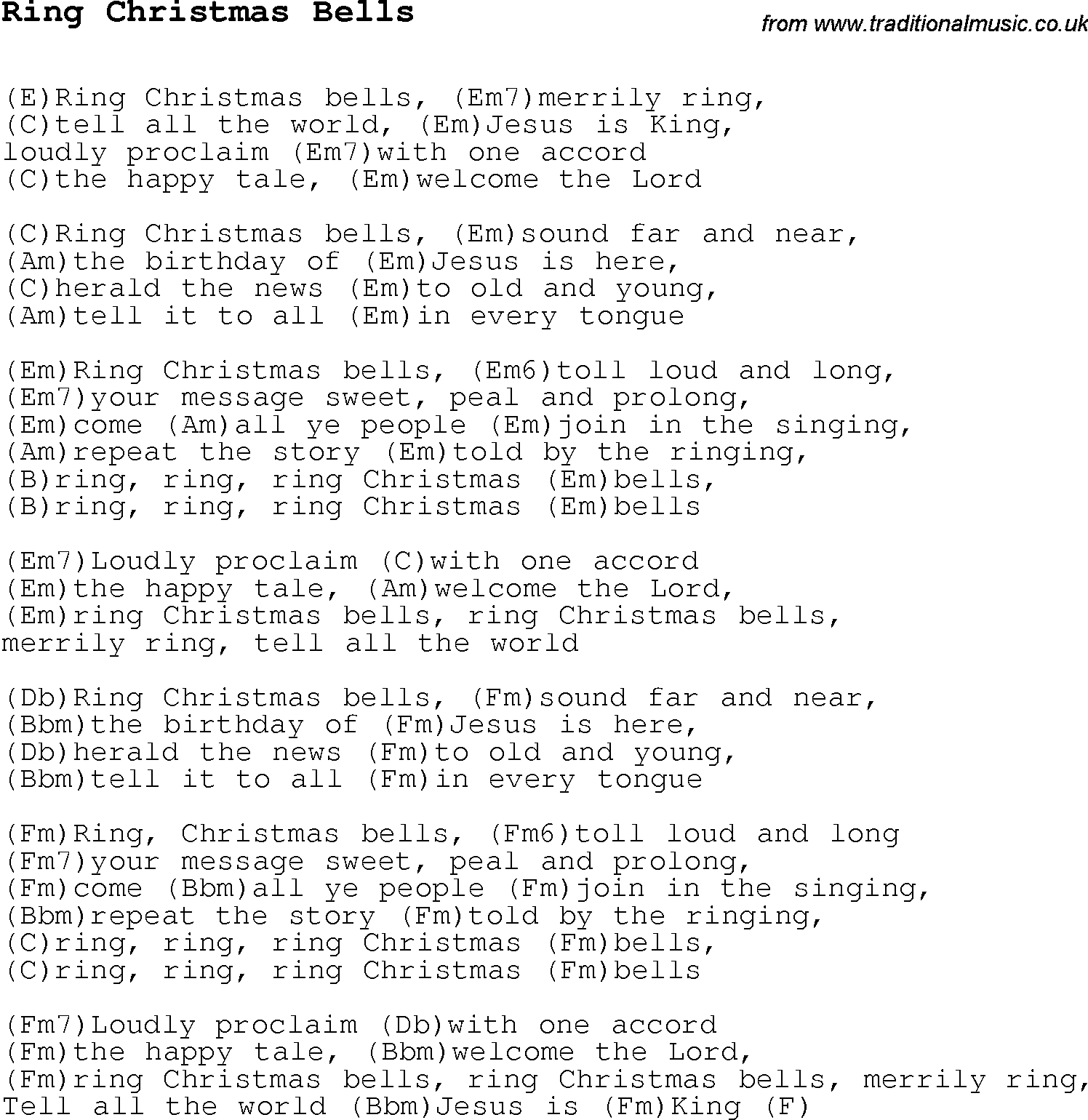 Christmas Carol/Song lyrics with chords for Ring Christmas Bells