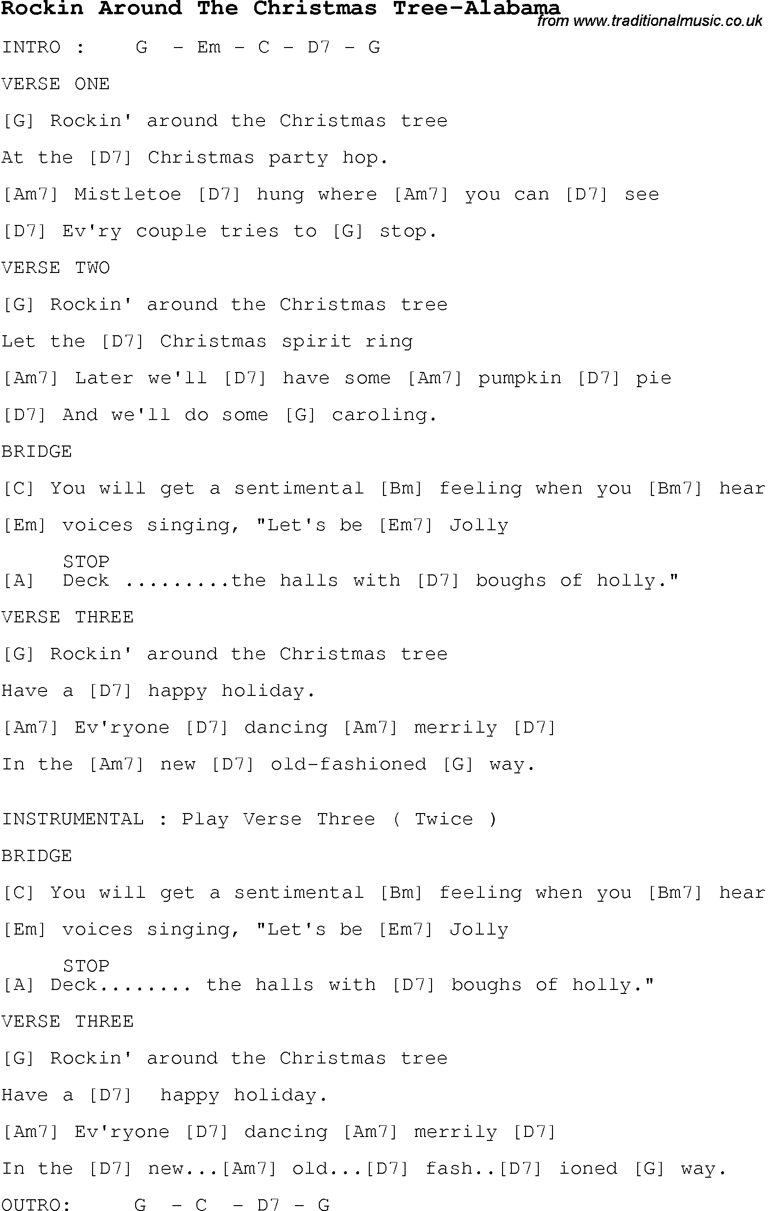 Christmas Carol/Song lyrics with chords for Rockin Around The ...
