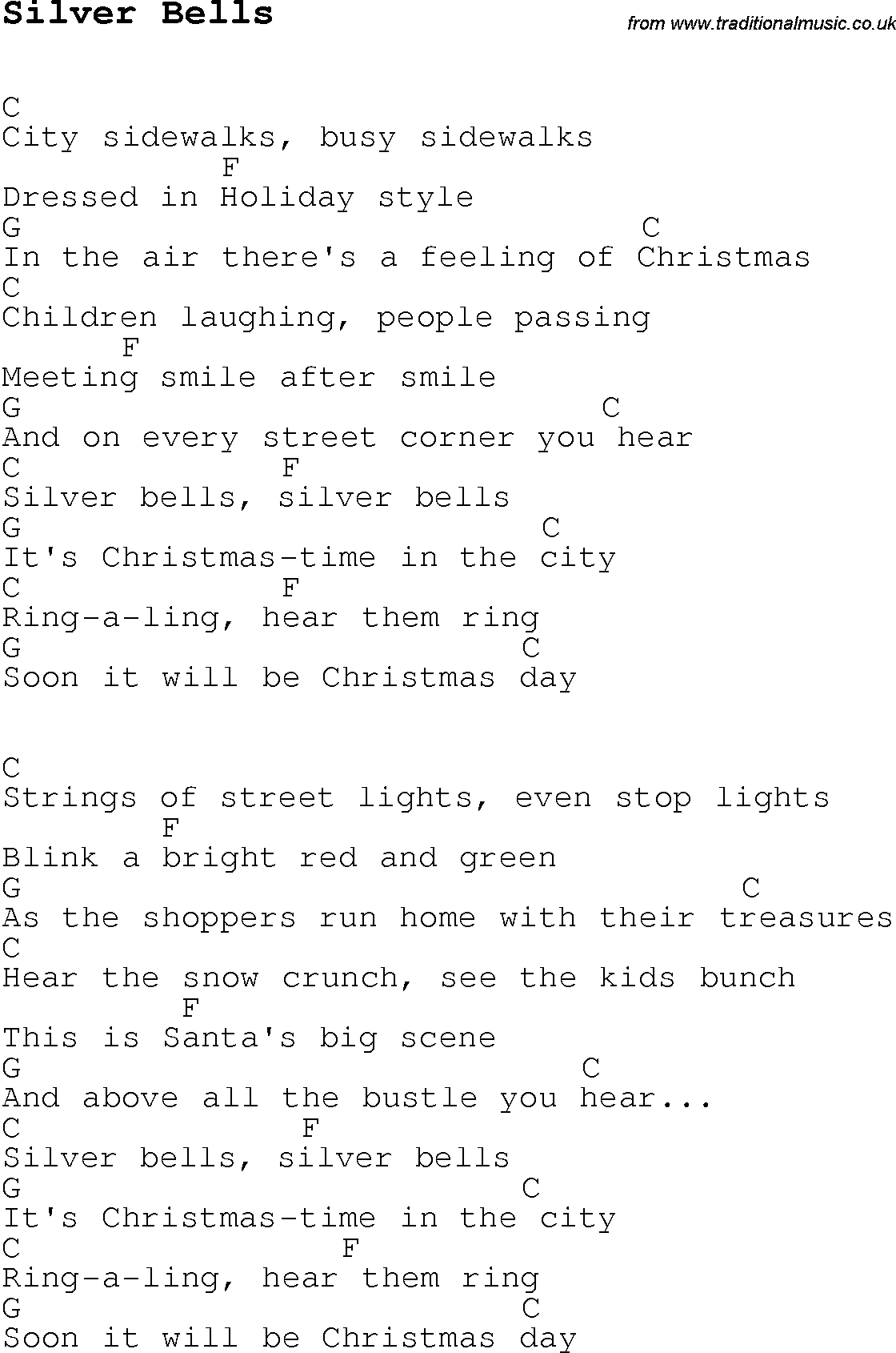 Christmas Carol/Song lyrics with chords for Silver Bells