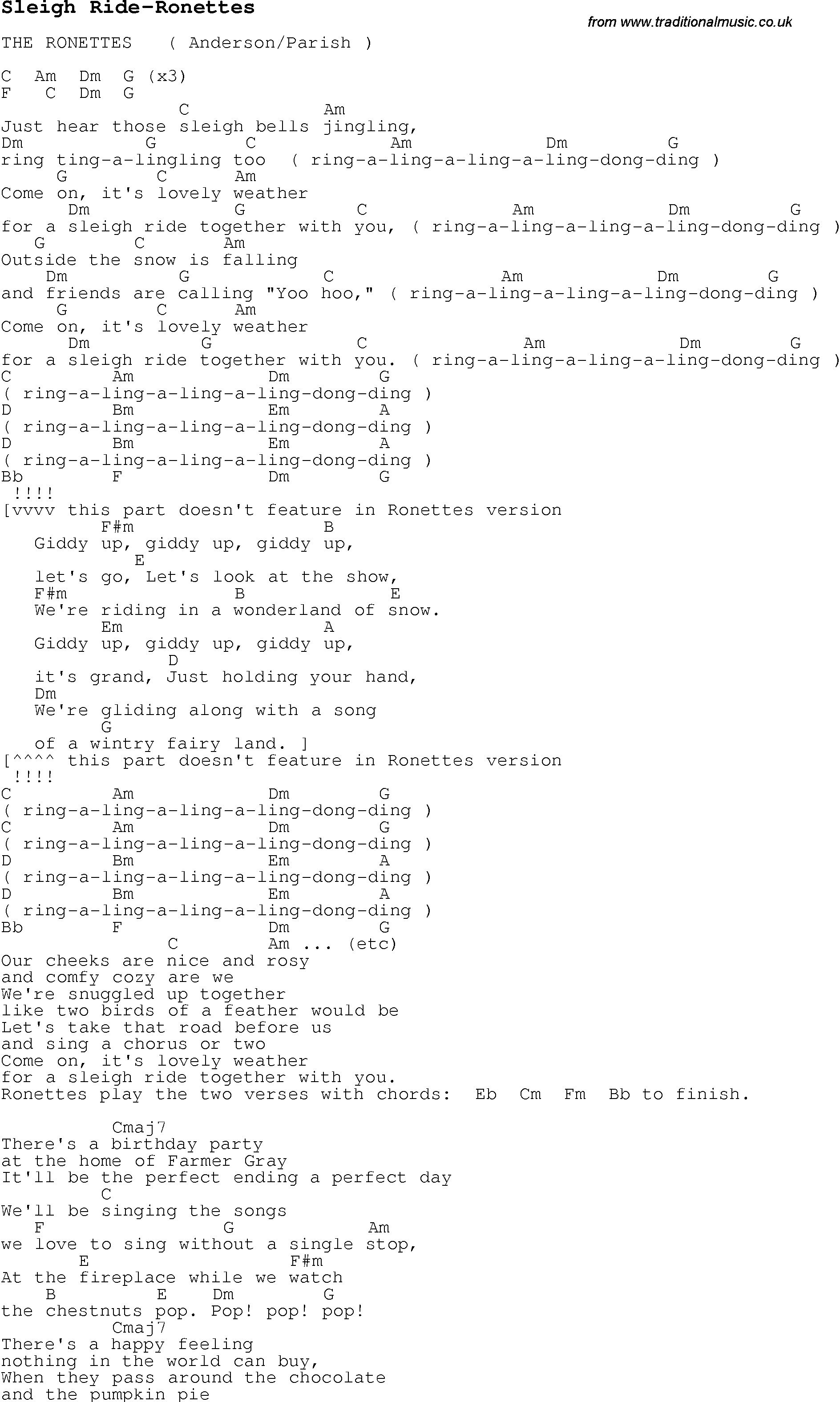 Christmas Carol/Song lyrics with chords for Sleigh Ride-Ronettes