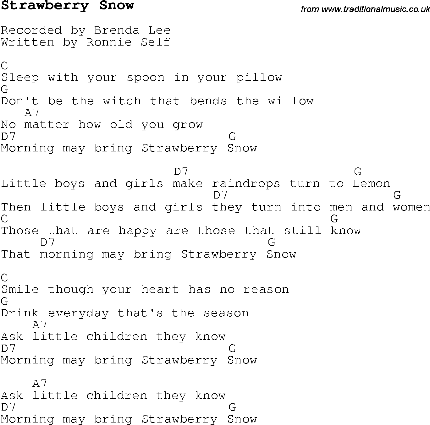 Christmas Carol/Song lyrics with chords for Strawberry Snow