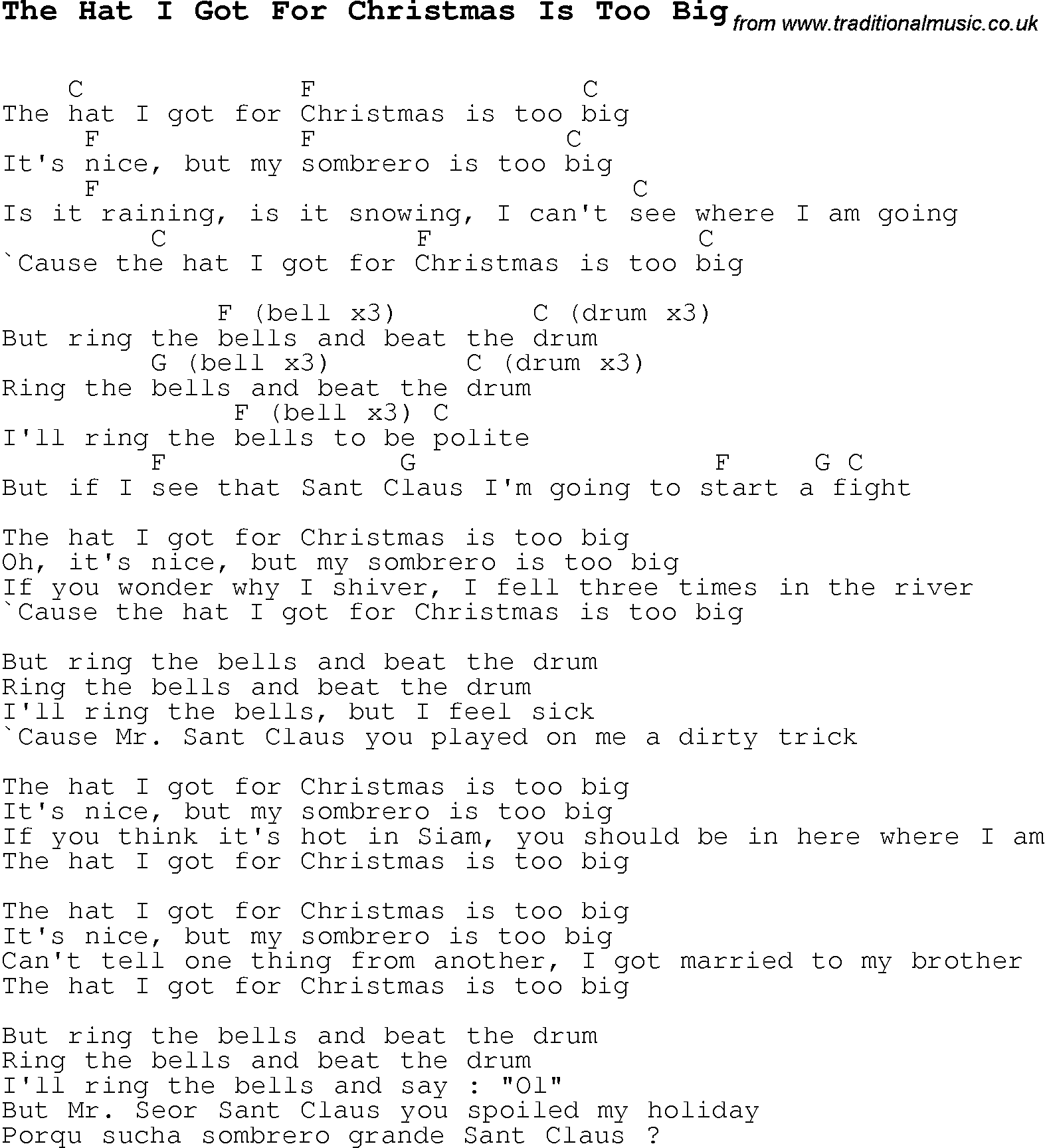 Christmas Carol/Song lyrics with chords for The Hat I Got For ...