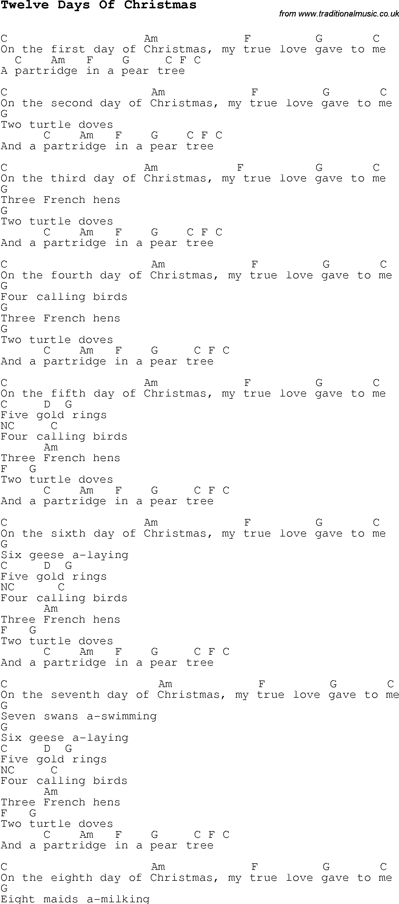 Christmas Carol/Song lyrics with chords for Twelve Days Of Christmas