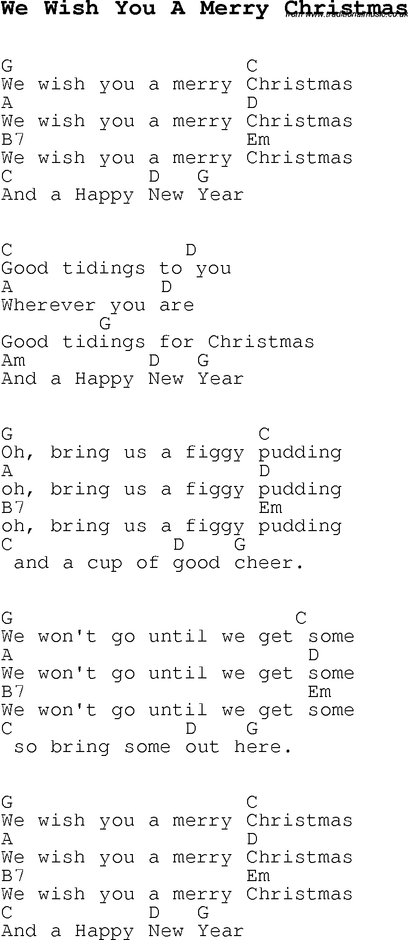 Christmas Carol/Song lyrics with chords for We Wish You A Merry ...