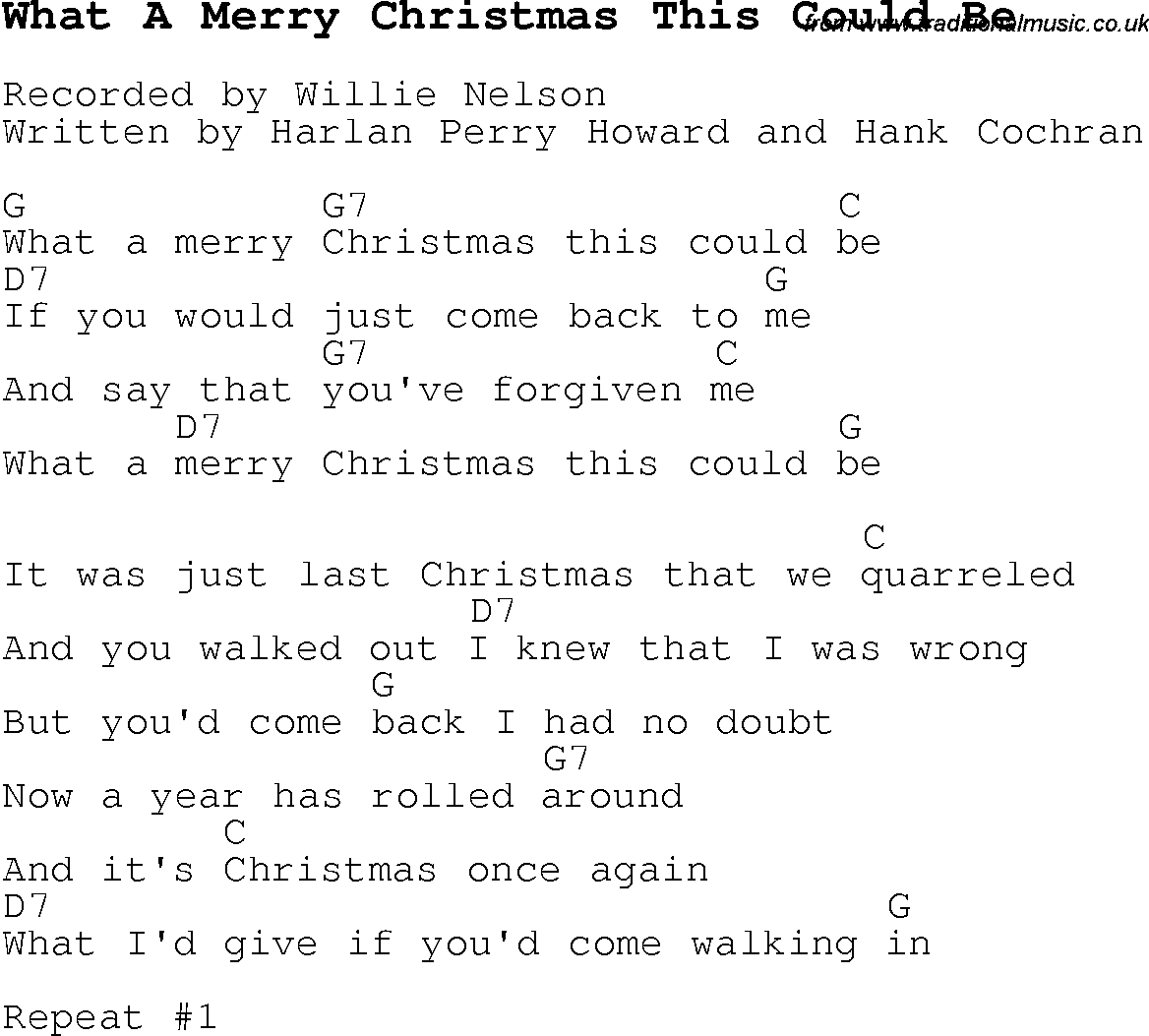 Christmas Carol/Song lyrics with chords for What A Merry Christmas ...