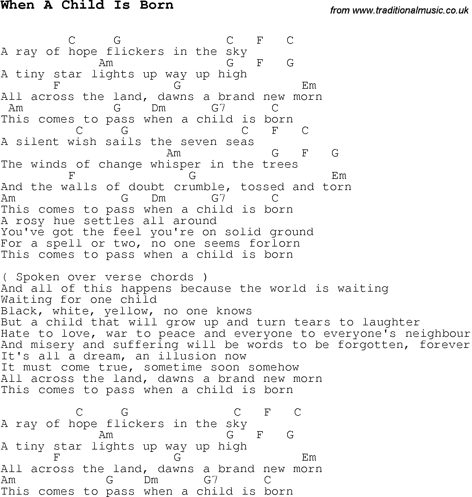 Christmas Carolsong Lyrics With Chords For When A Child Is Born