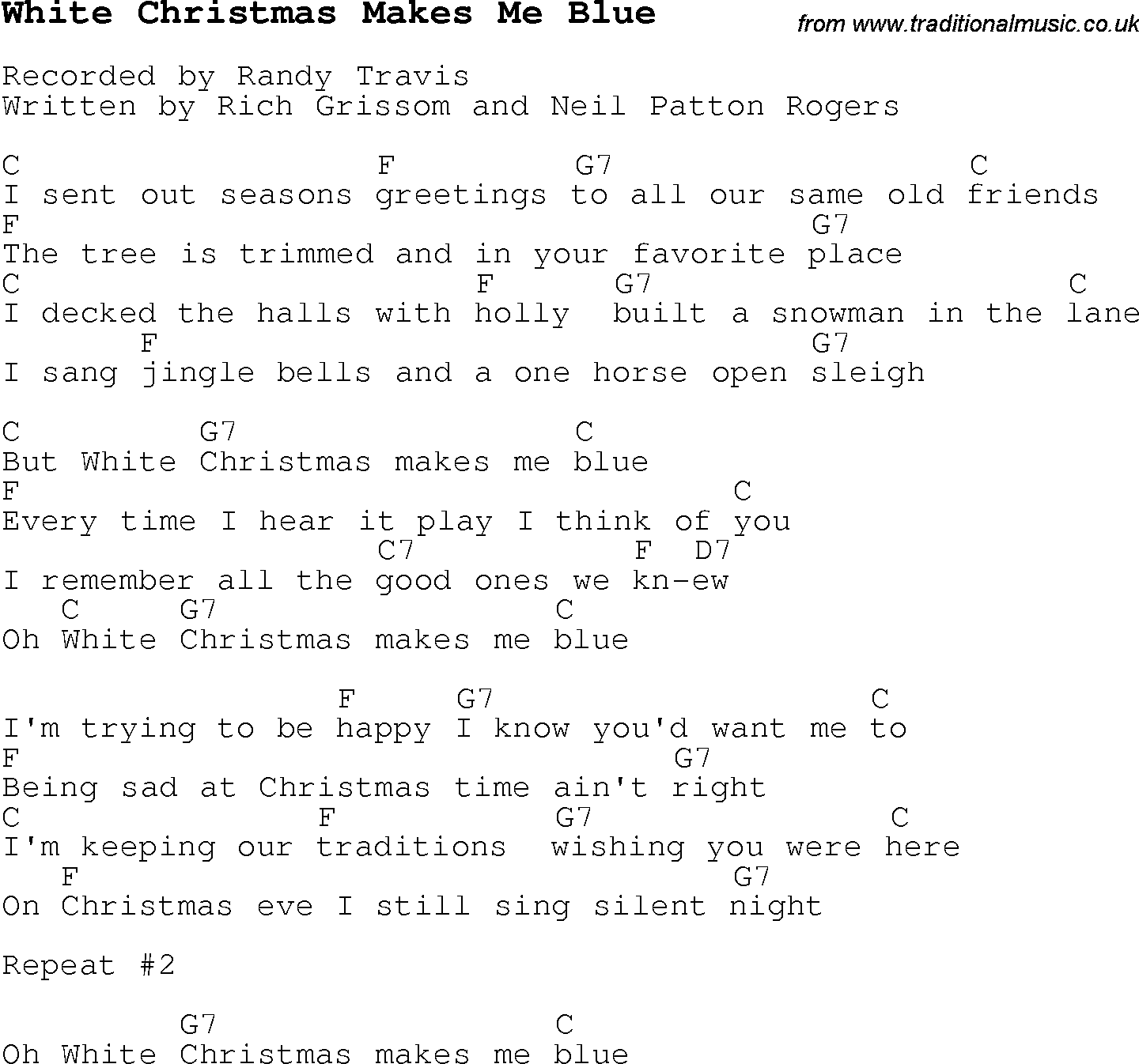 Christmas Carol/Song lyrics with chords for White Christmas Makes ...