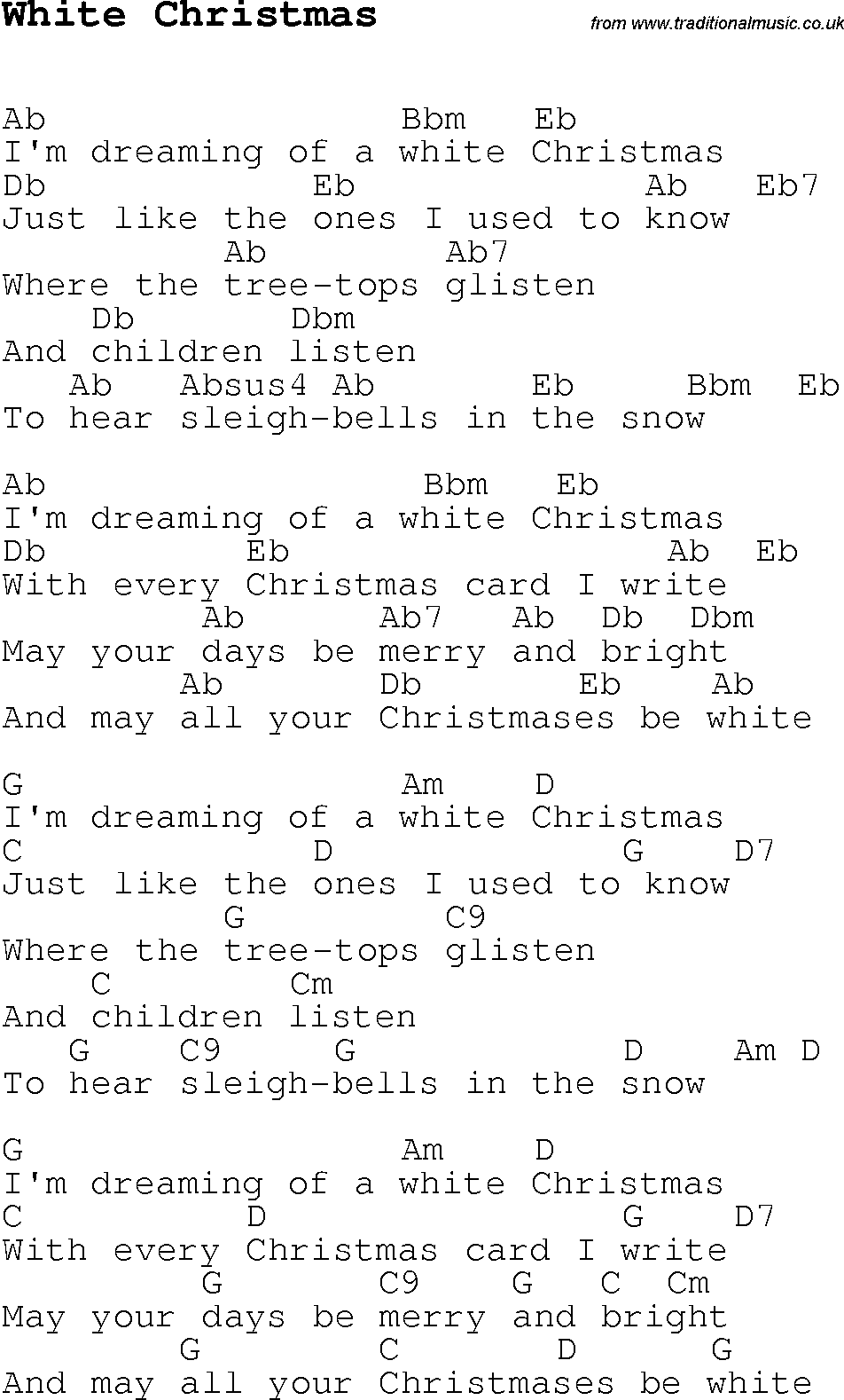 Christmas Carol/Song lyrics with chords for White Christmas
